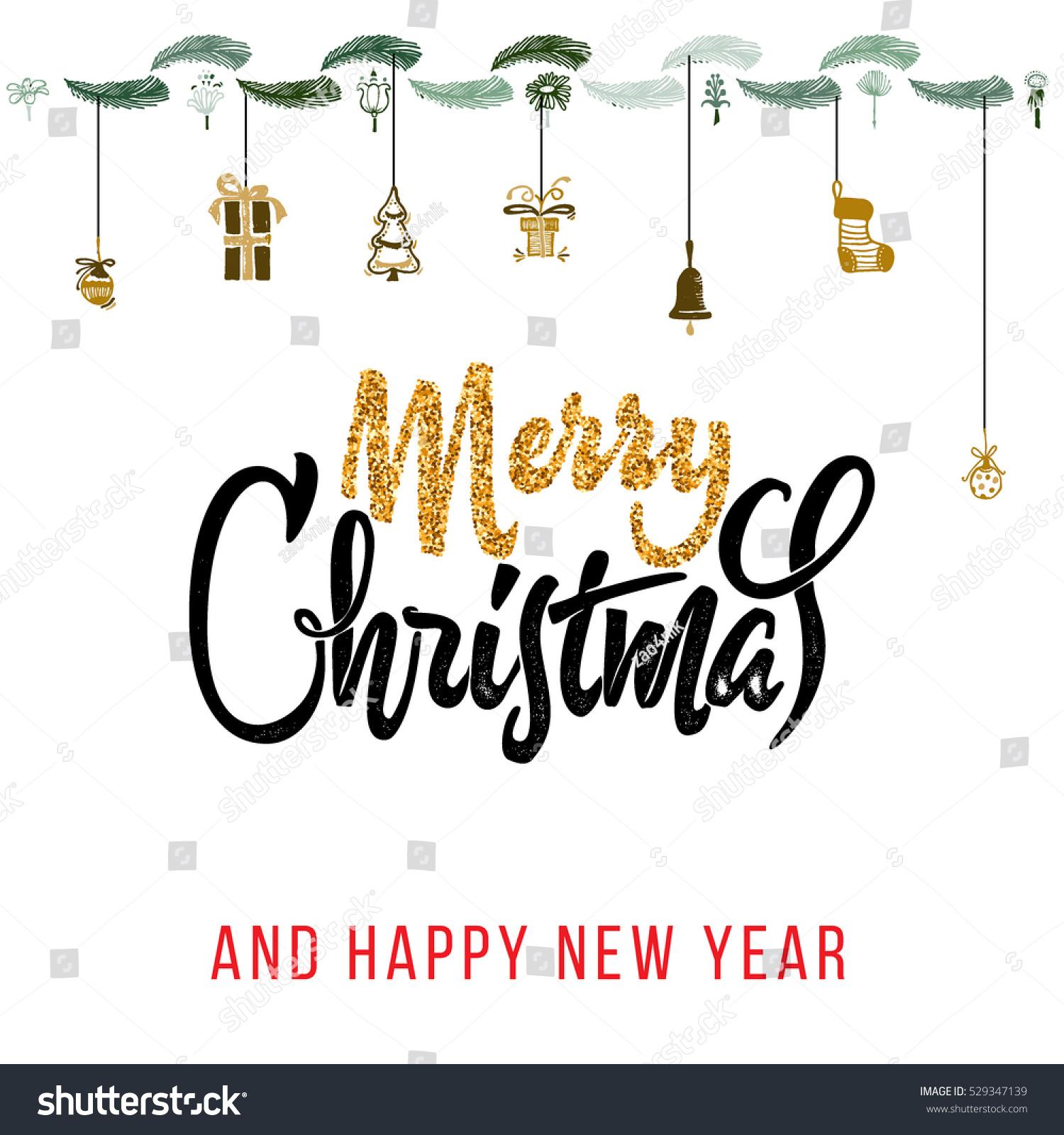 Merry christmas happy new year stock vector