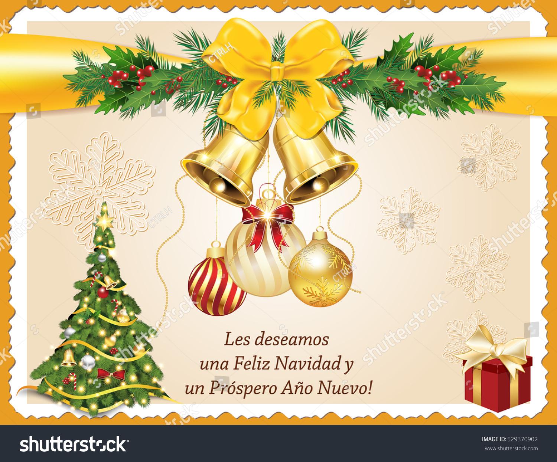Spanish seasons greetings christmas new year stock illustration spanish seasons greetings christmas new year card les deseamos feliz navidad y feliz m4hsunfo