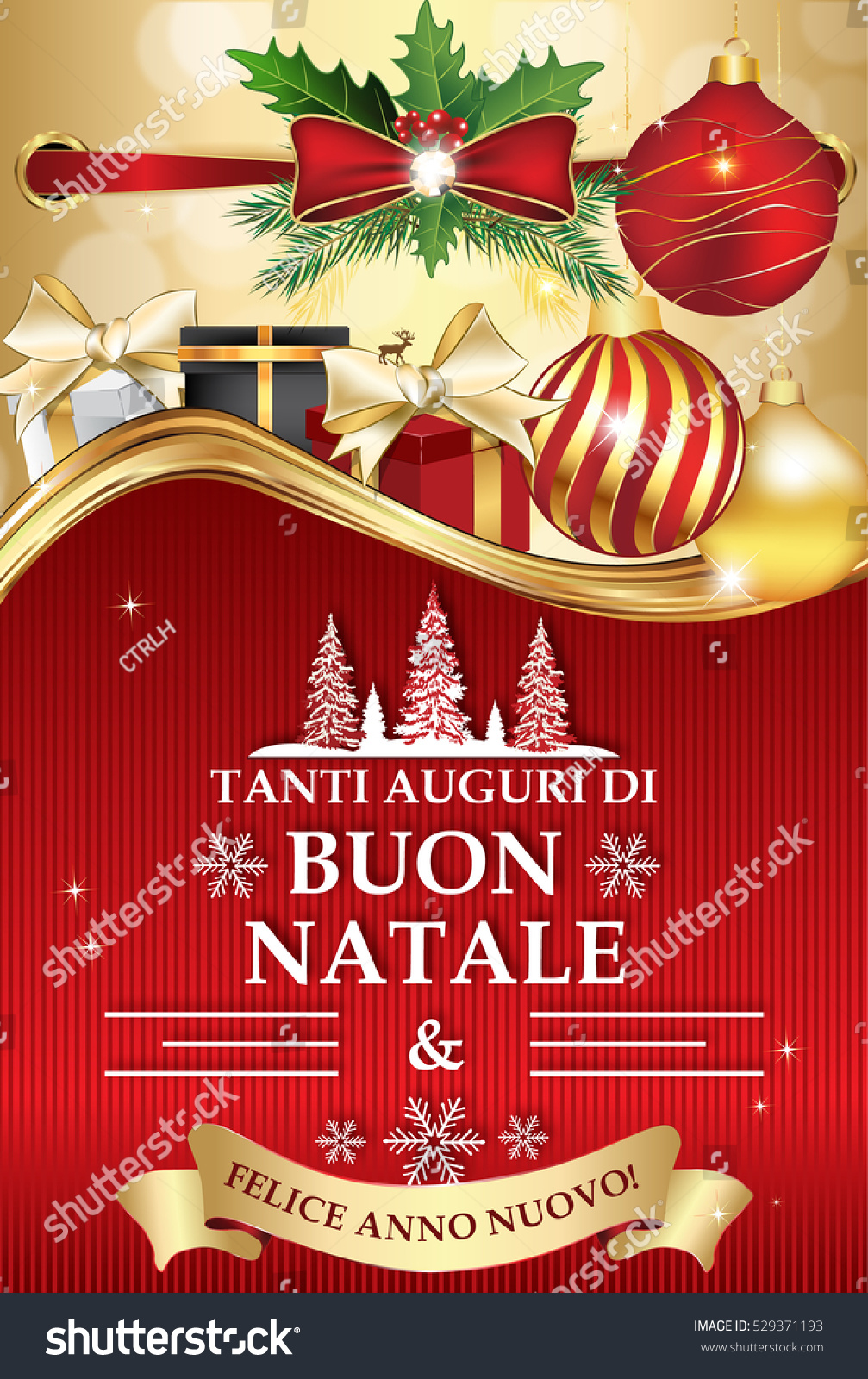 italian greeting card for winter holiday merry christmas and happy new year tanti auguri