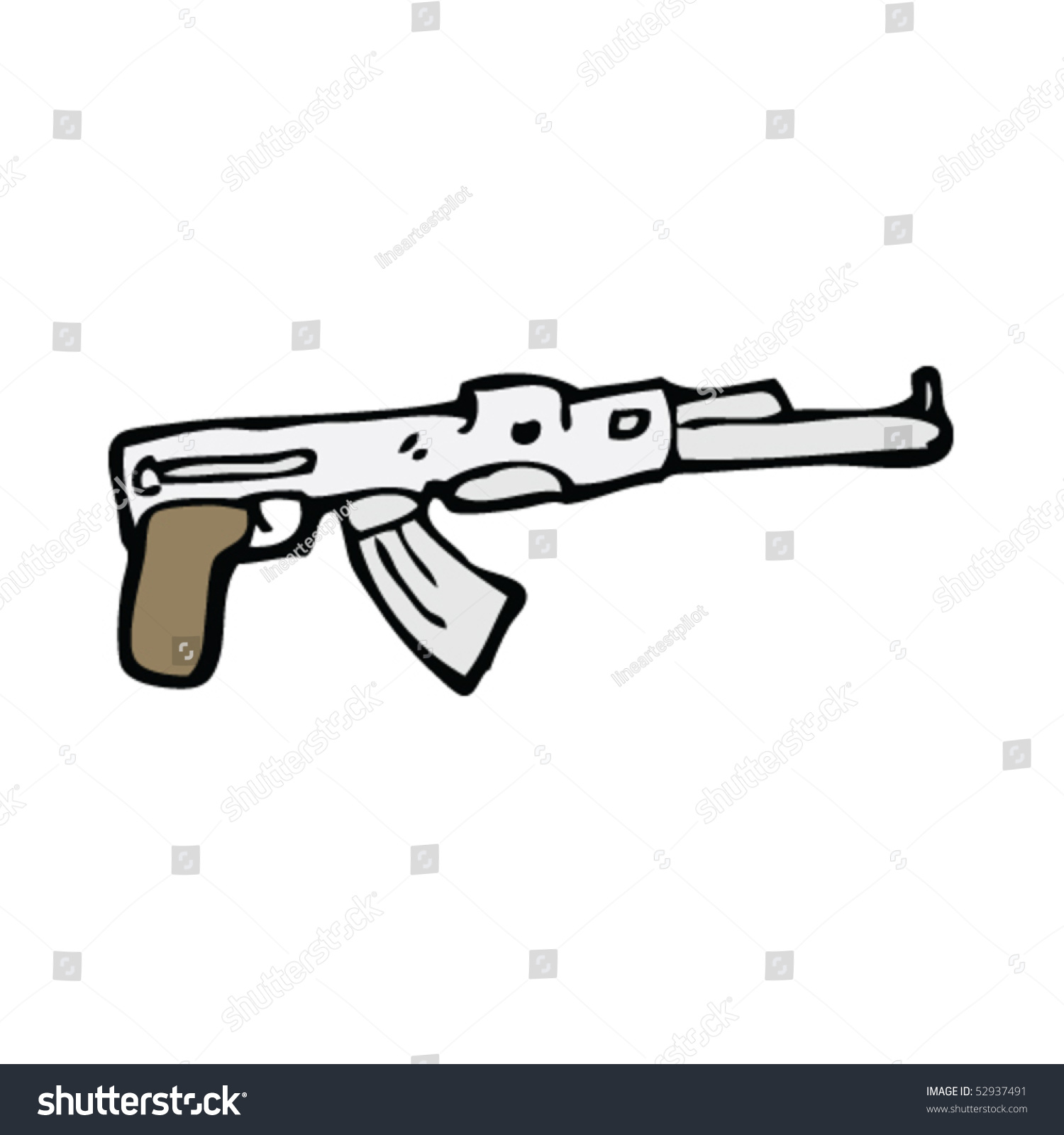 Machine Gun Drawing Stock Vector 52937491 : Shutterstock