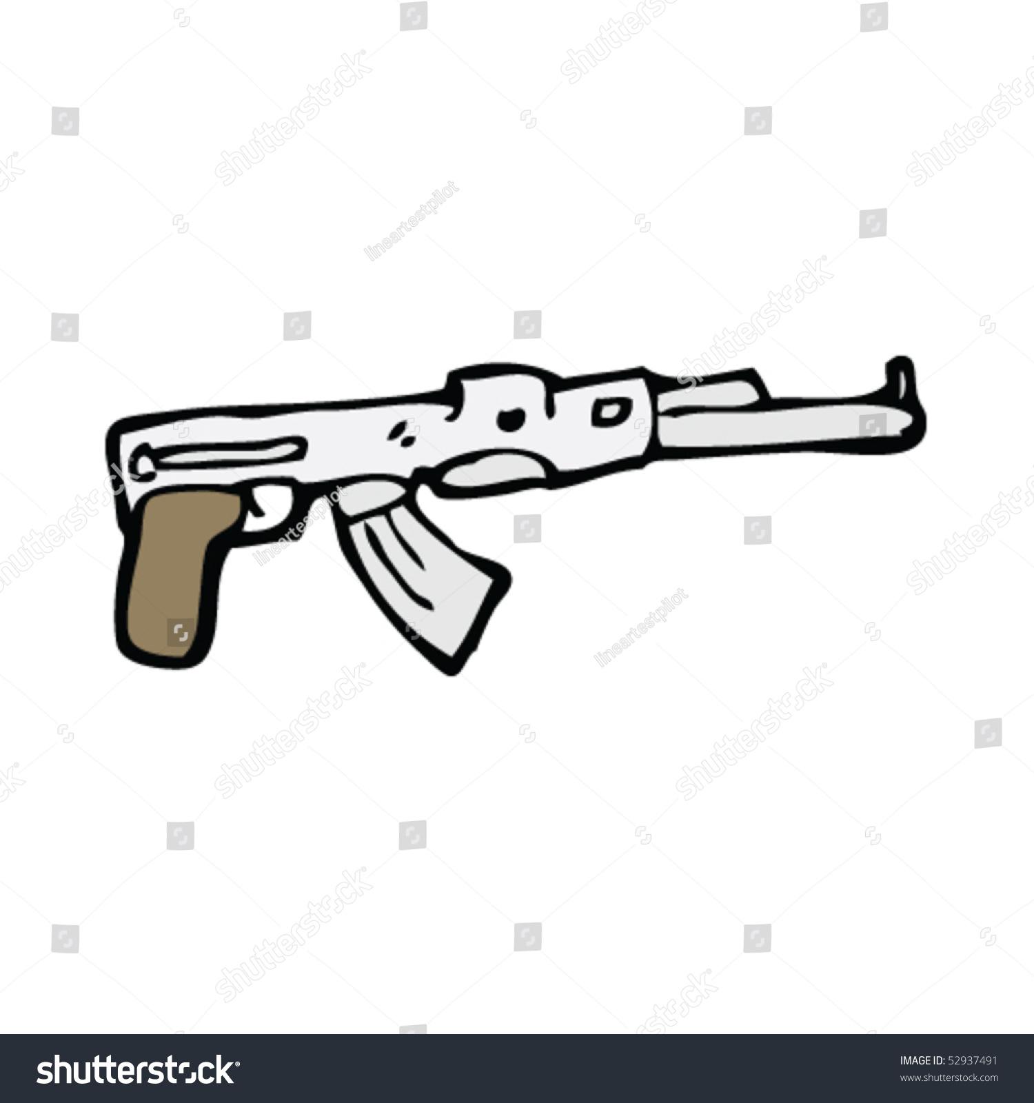 Machine Gun Drawing Stock Vector 52937491 : Shutterstock
