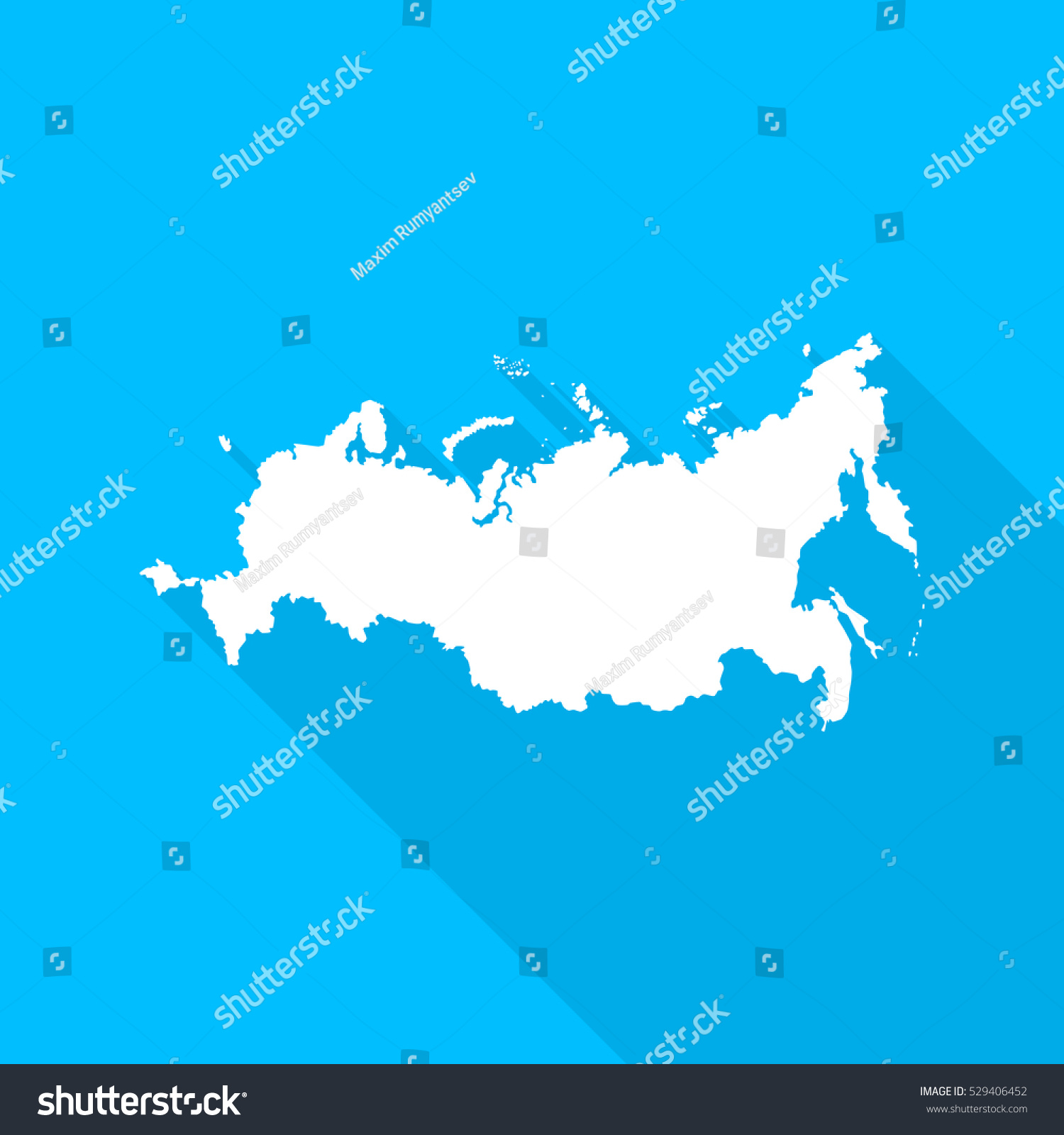 Russian Federation Map Long Shadow On Stock Vector (Royalty Free ...