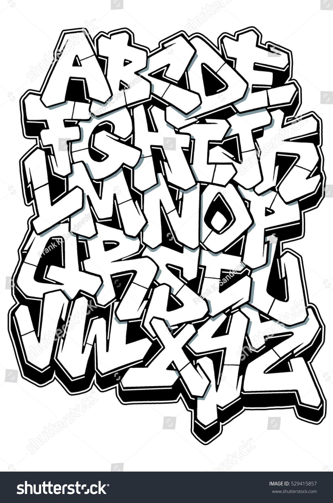 Graffiti Letters Sketch Alphabet 02