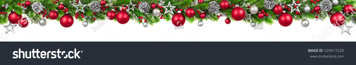 Extra wide christmas border fir branches stock photo