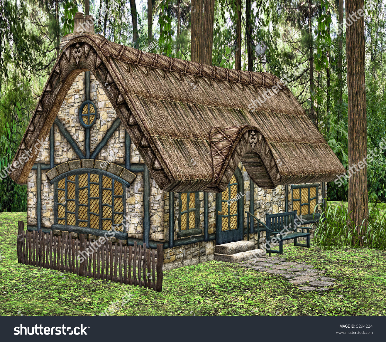 A Little Fairy Tale Cottage In The Woods Stock Photo