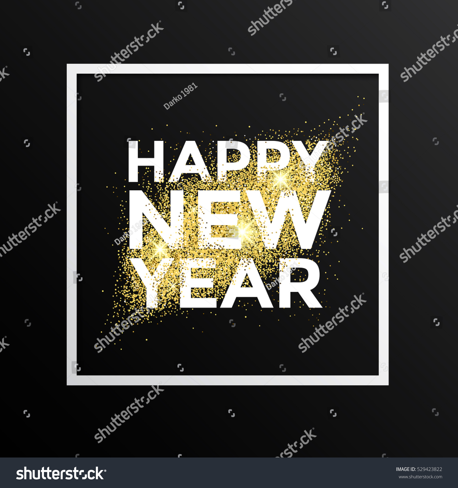 Gold glitter new year greeting card stock vector 529423822 gold glitter new year greeting card on white background gold dust background for canvas print m4hsunfo