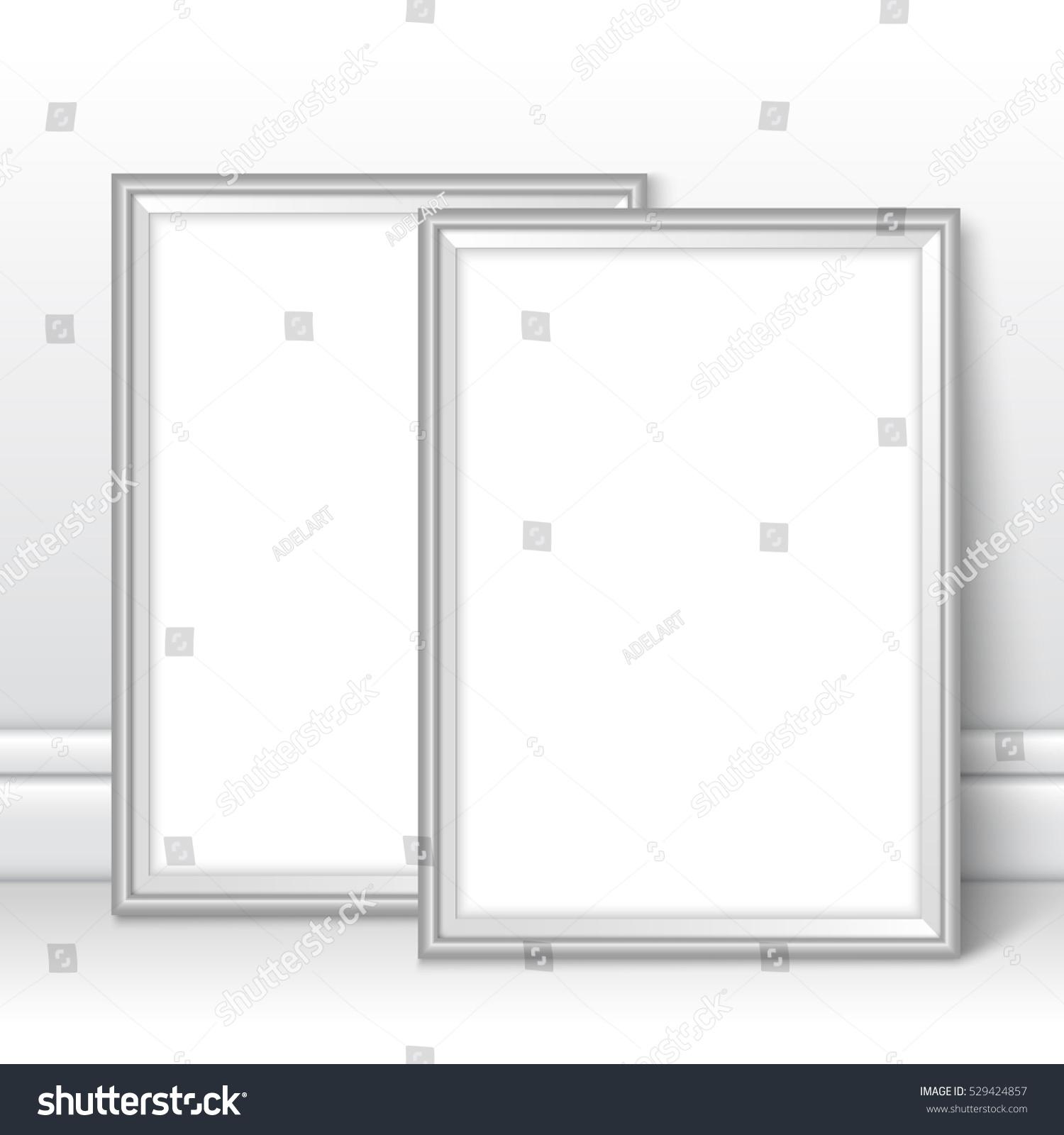 Silver Frames Template Near Wall Grey Stock Photo (Photo, Vector ...