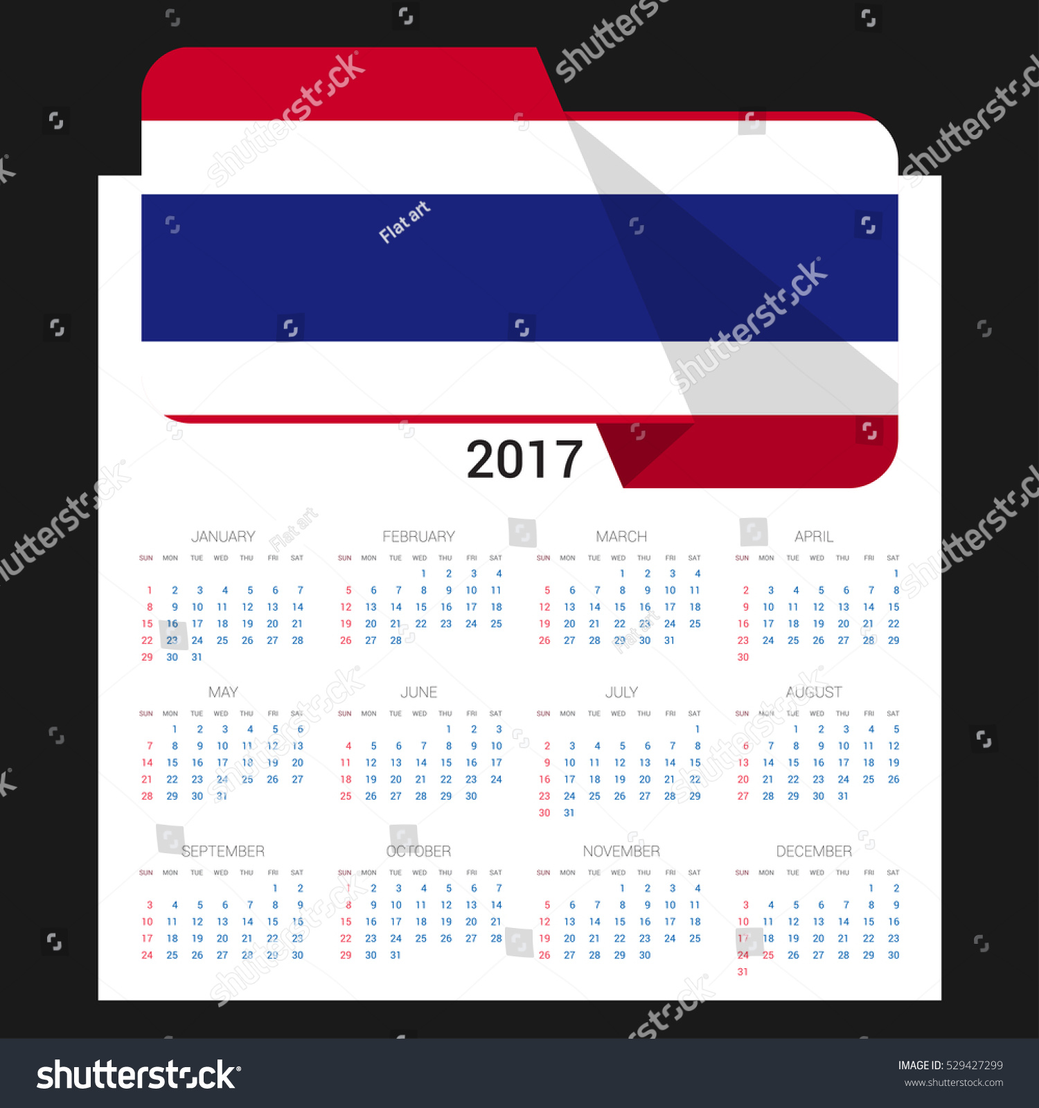 Calendar grid 2017 thailand flag on stock vector 529427299 calendar grid for 2017 with thailand flag on 2017 national flag on a black background biocorpaavc Image collections