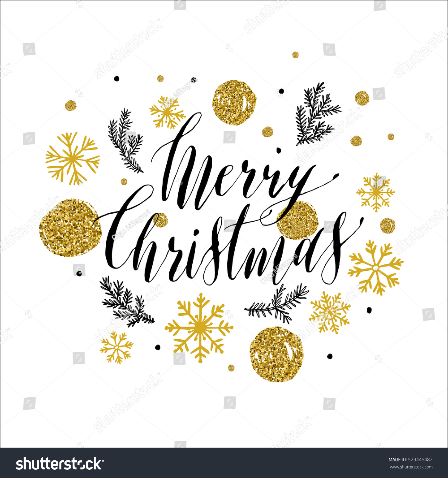 calligraphic merry christmas with snowflakes hand drawn style post card