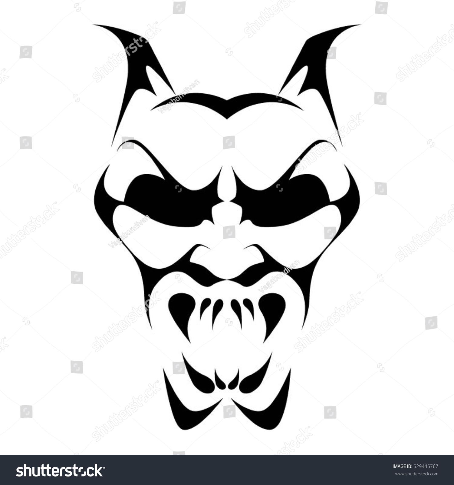 black and white devil clip art