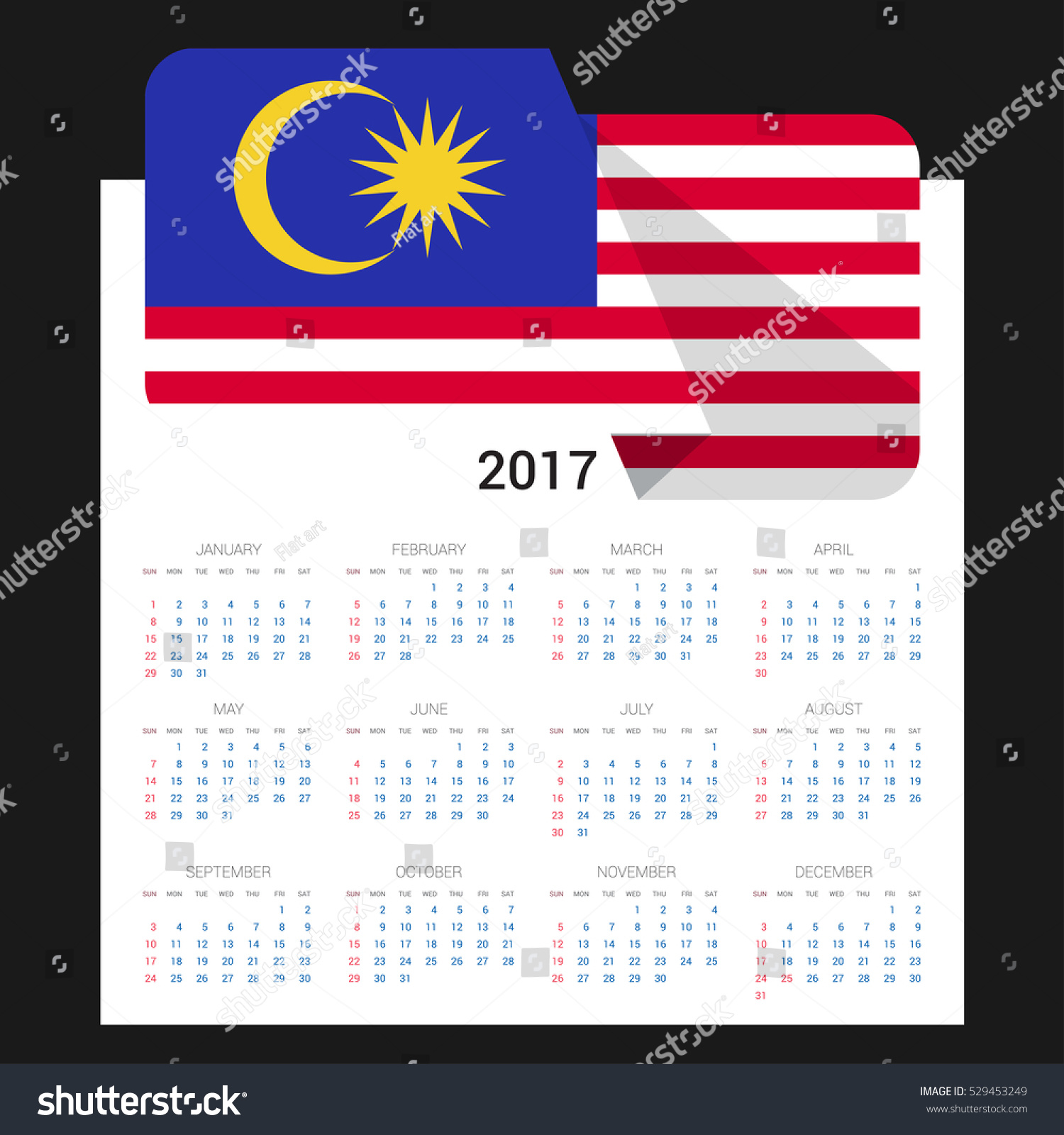 Calendar grid 2017 malaysia flag on stock vector 529453249 calendar grid for 2017 with malaysia flag on 2017 national flag on a black background biocorpaavc Image collections