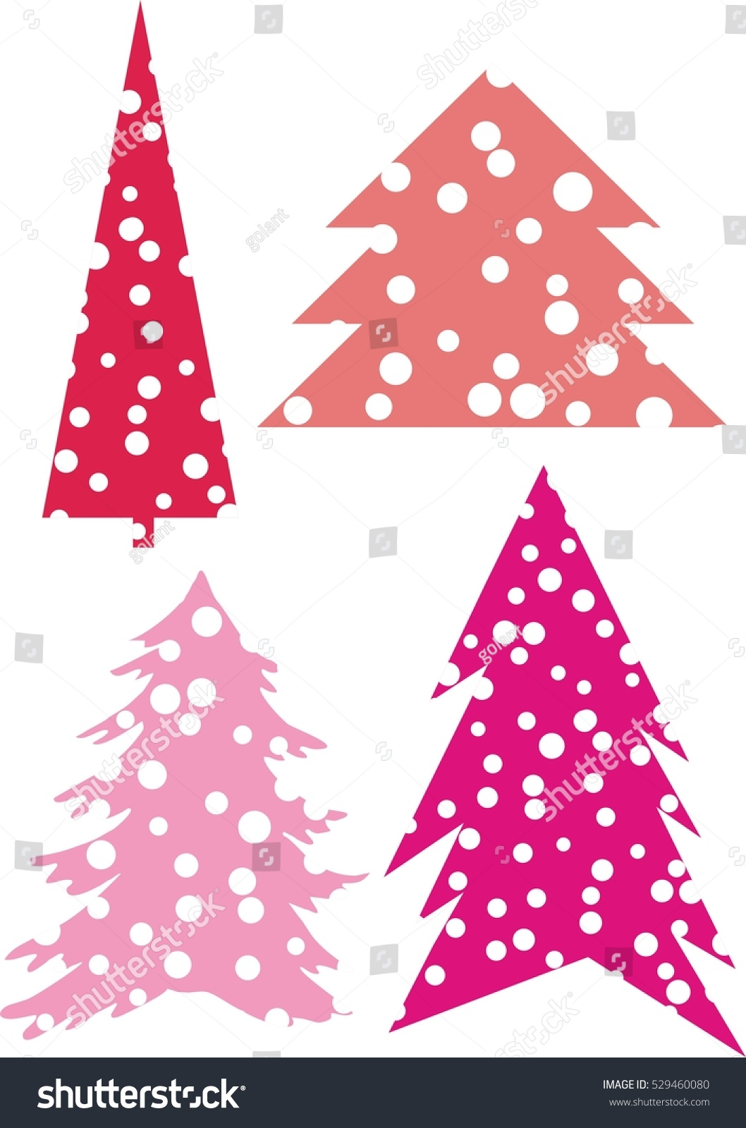 Christmas trees decorated pink - Set Of Abstract Christmas Trees With Decoration Pink Color Vector Abstract Tree Points As In The