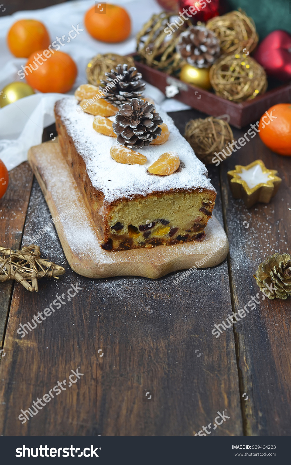 Dried Fruit Cake Decoration : Christmas Cake Dried Fruits Tangerines Stock Photo ...