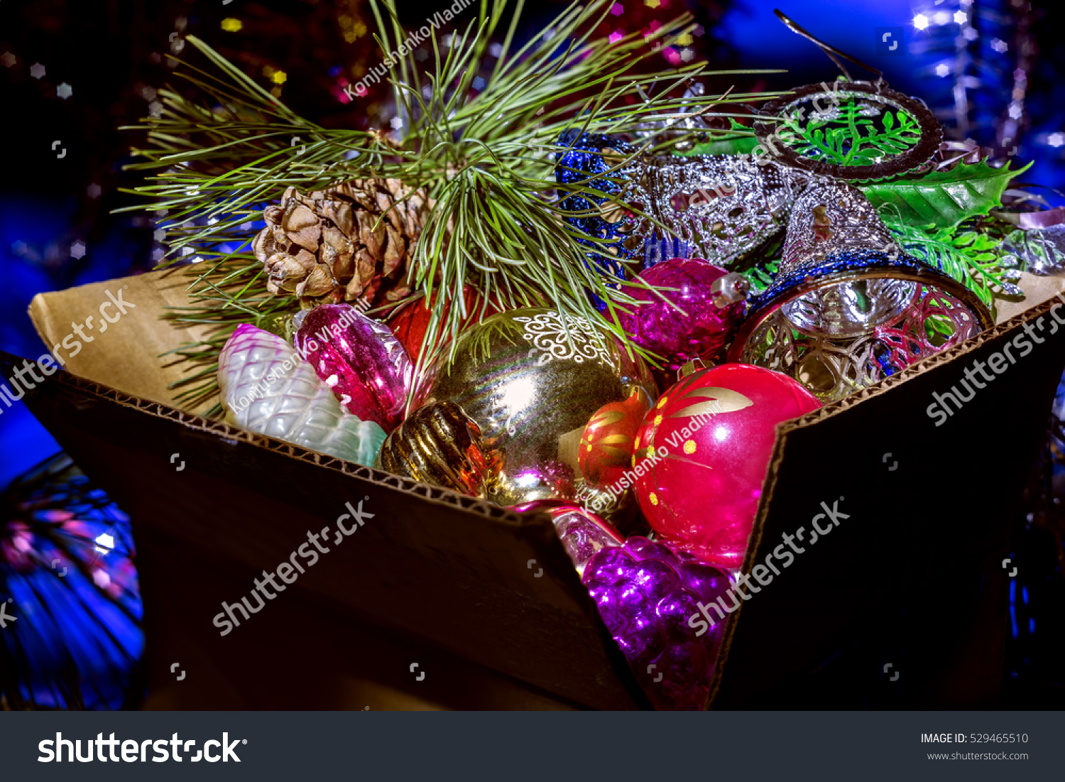 christmas tree decorations in a box