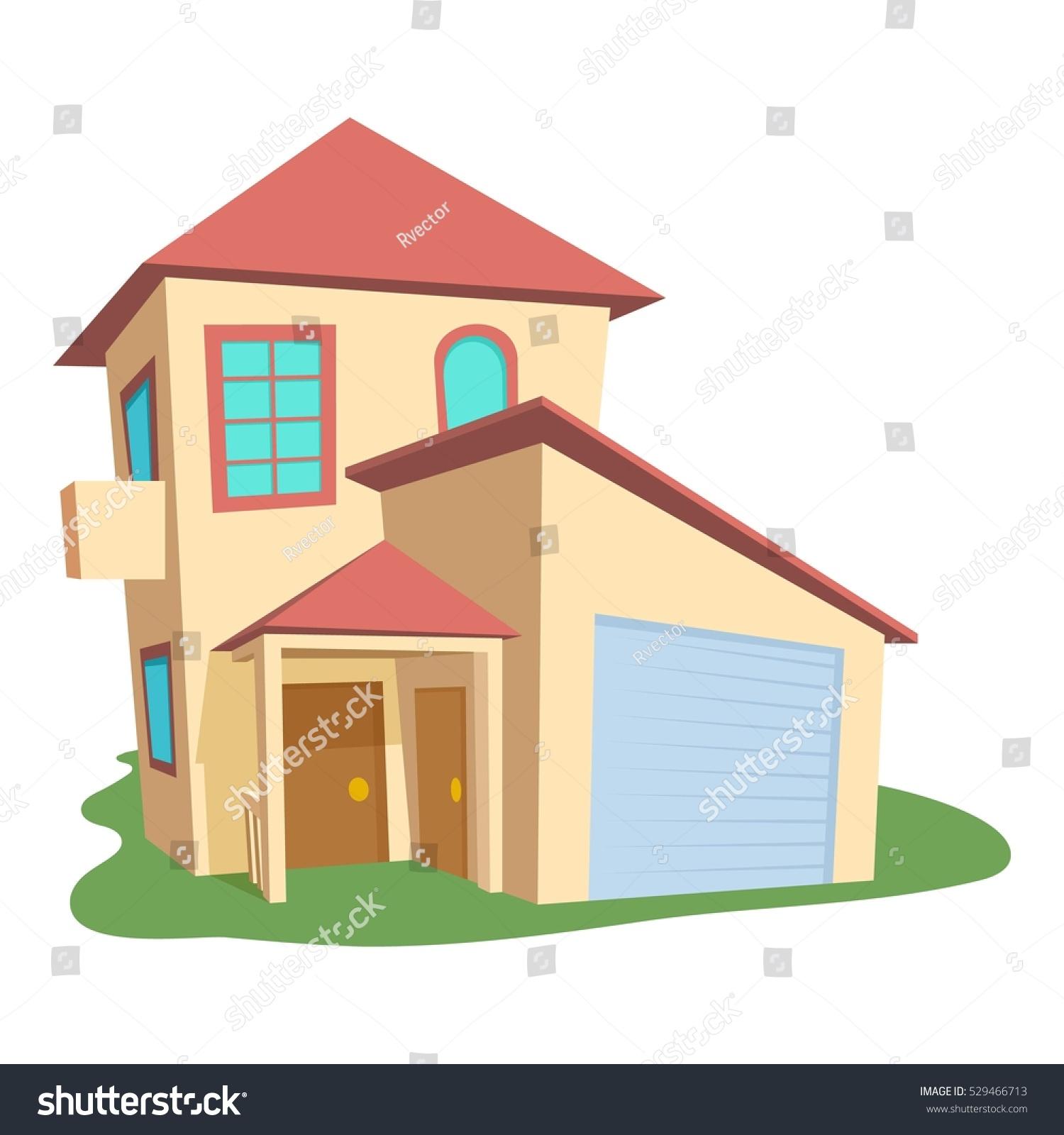 Modern house icon cartoon illustration modern stock vector for Casa moderna vector