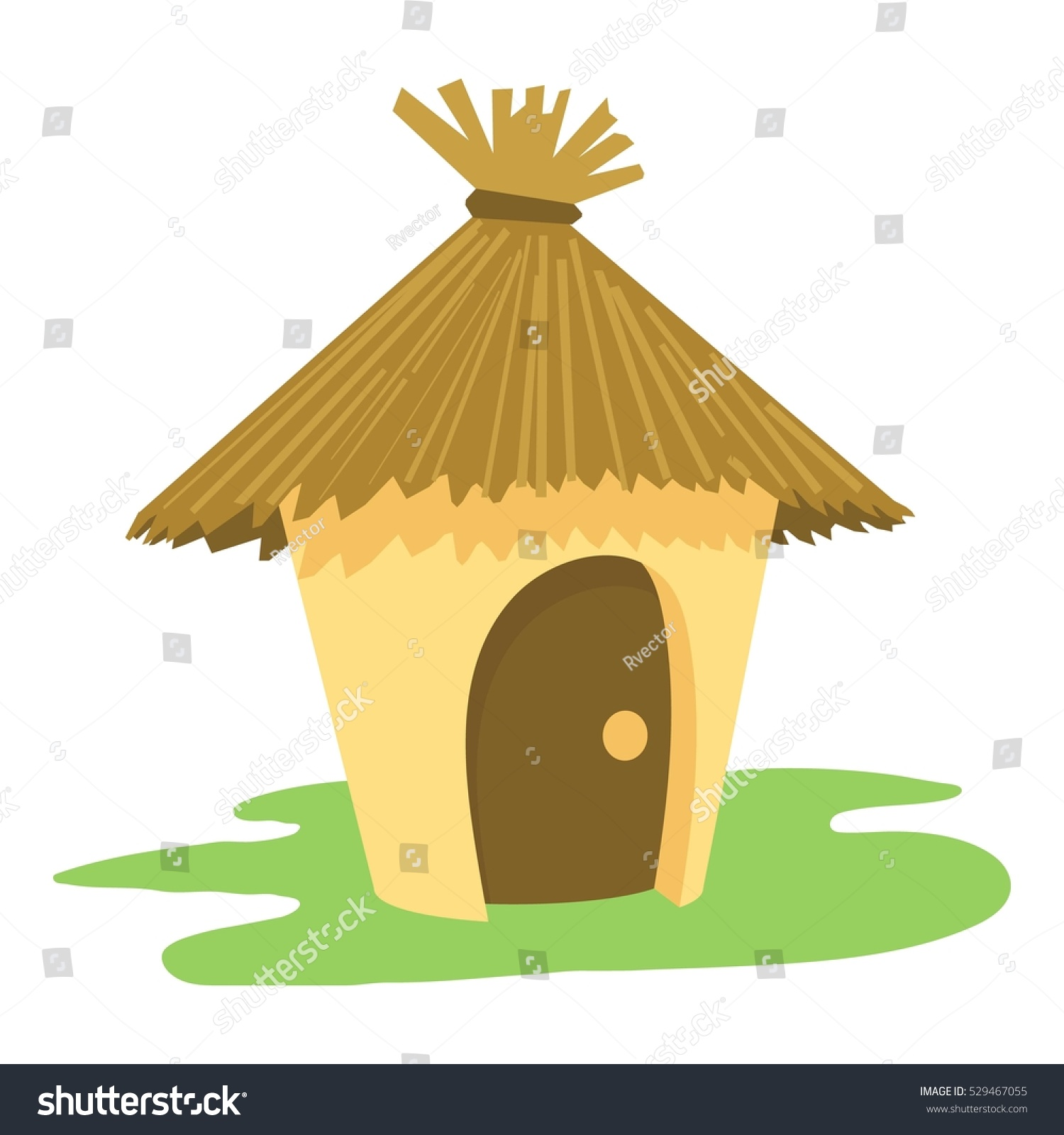 Hut House Logo: Village Tiki Hut Icon Cartoon Illustration Stock Vector