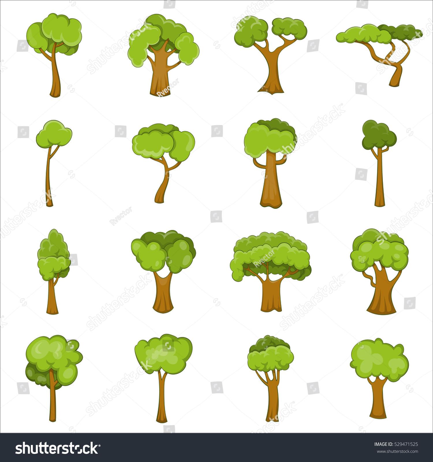 green trees icons set cartoon illustration stock vector 529471525
