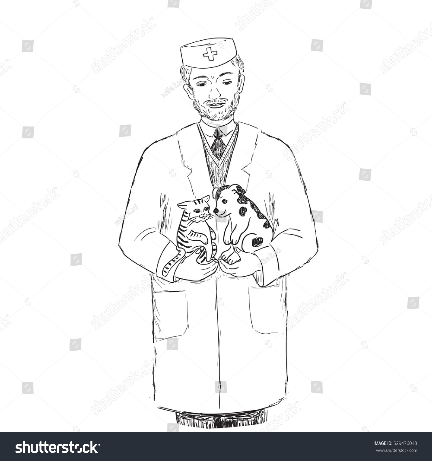 vector veterinarian cat dog sketch stock vector 529476043