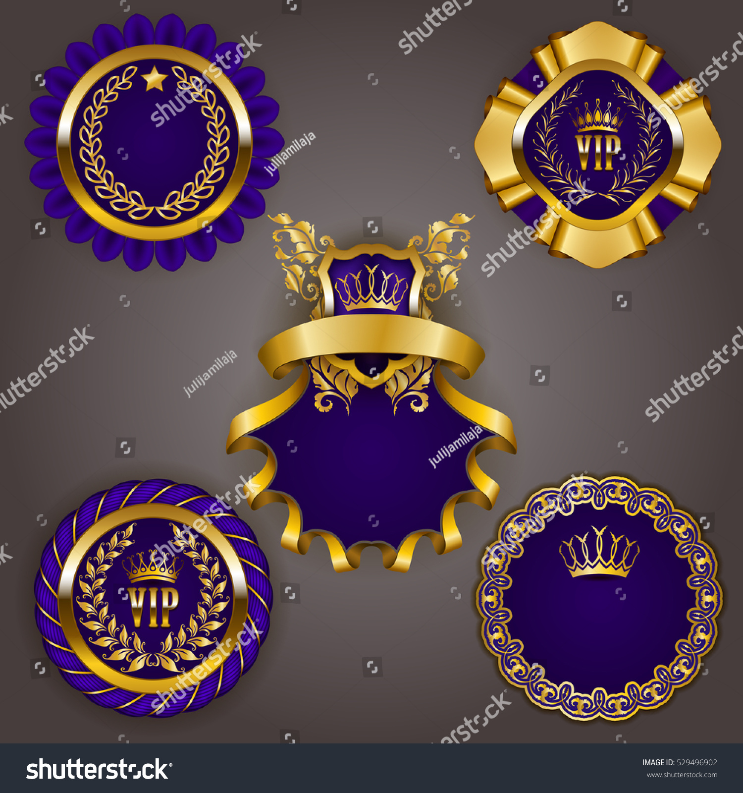 set elegant templates gold vip frames stock vector royalty free