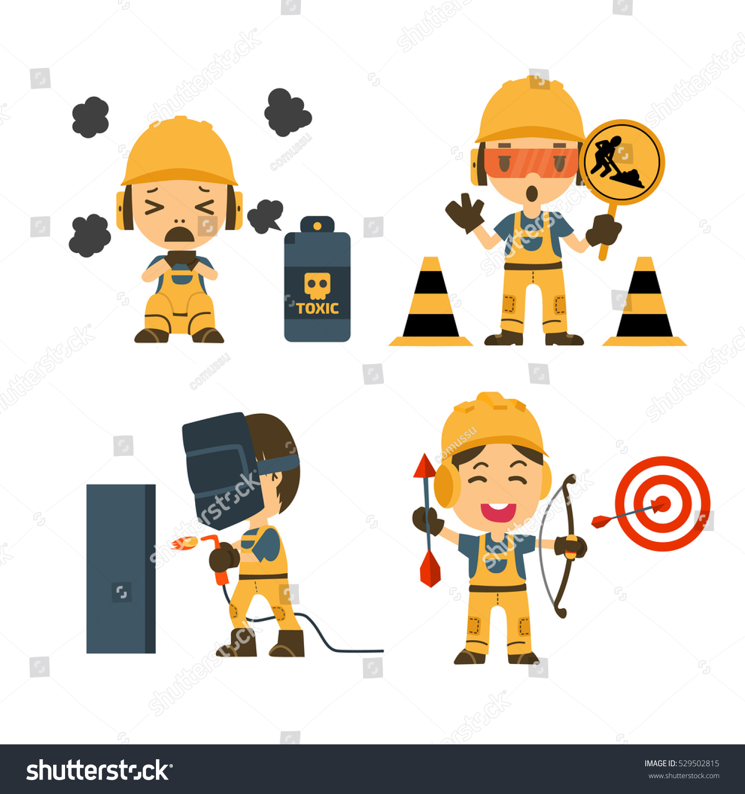 set construction worker accident working safety stock vector