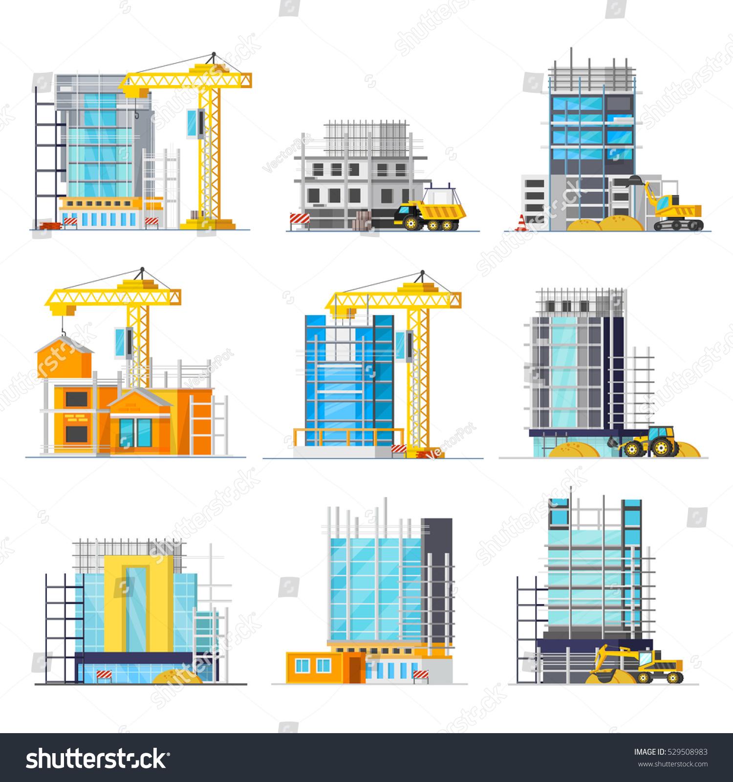 Orthogonal Icons Set Construction Buildings Glass Stock Vector 529508983 Shutterstock