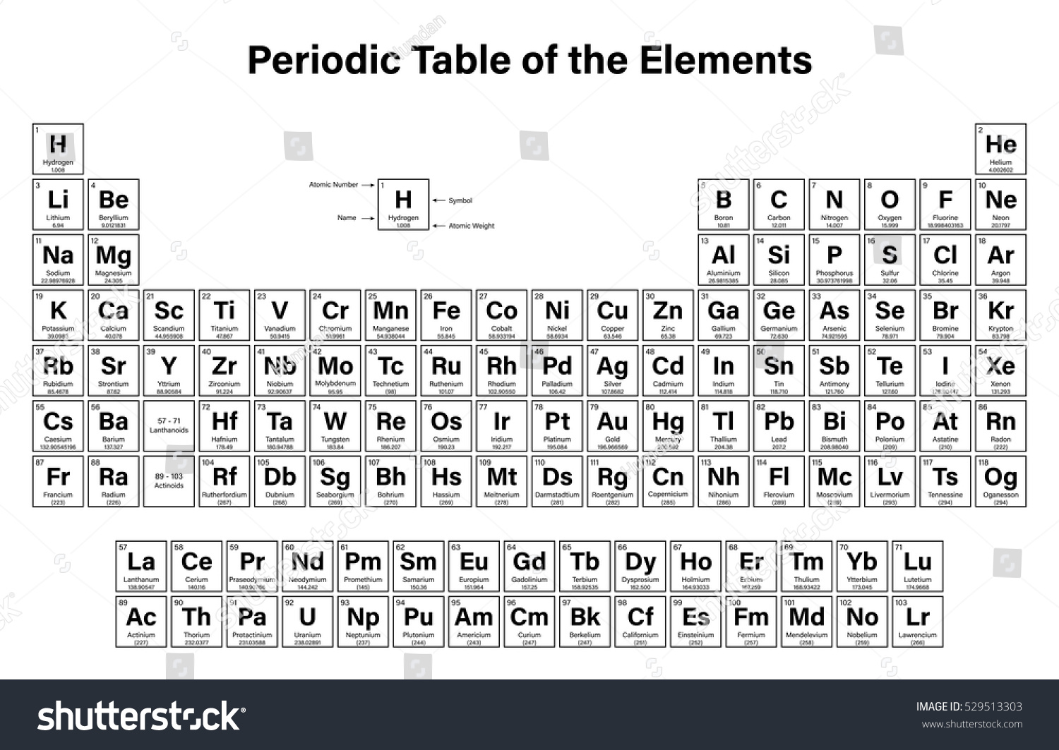 Royalty free periodic table of the elements vector 529513303 stock periodic table of the elements vector illustration shows atomic number symbol name and urtaz Choice Image