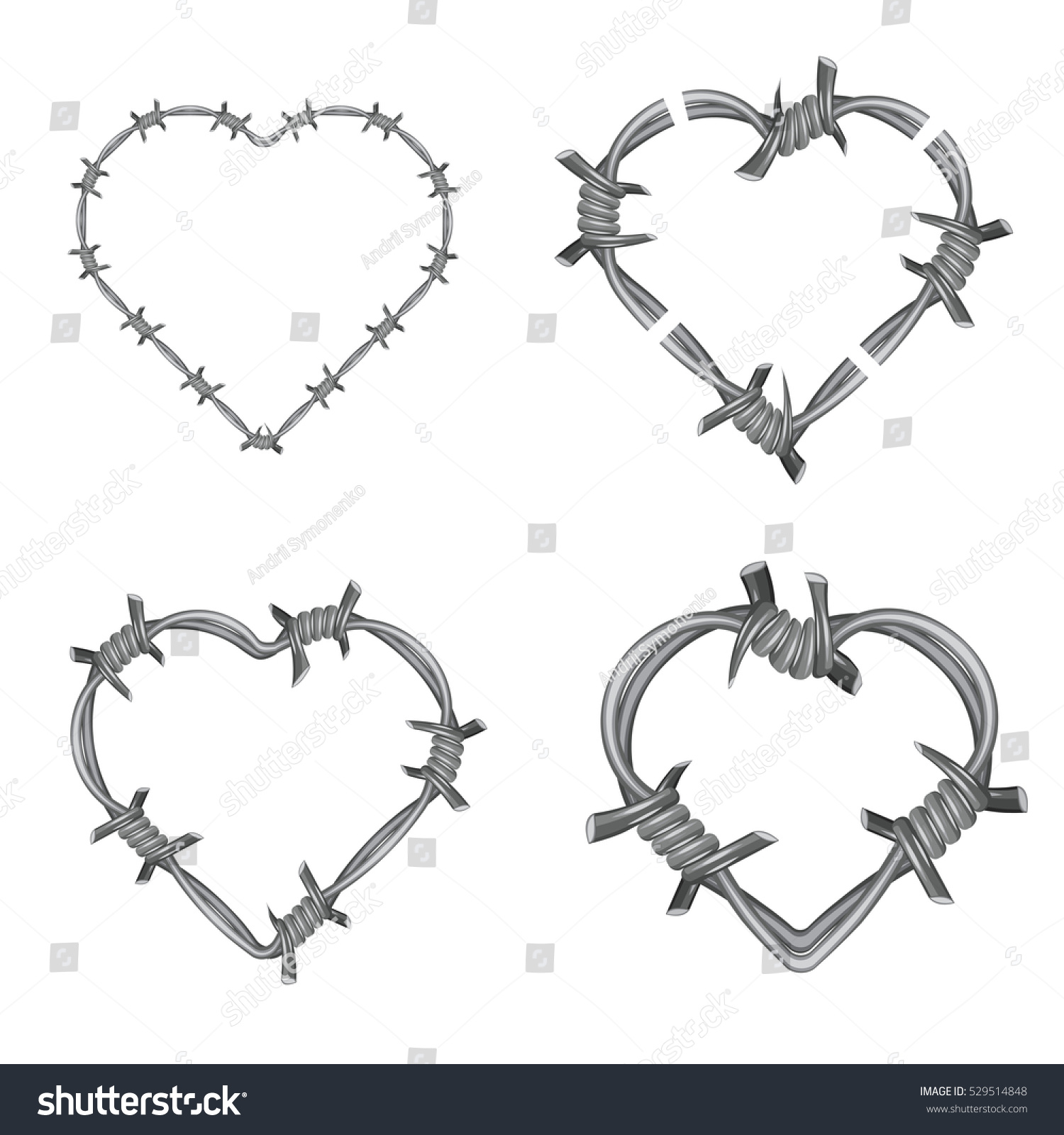 Frame Heart Barbed Wire Set Stock Illustration 529514848 - Shutterstock