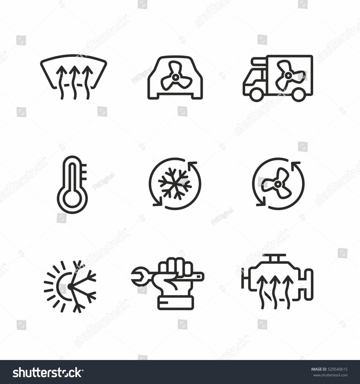 car air conditioning icon. car air conditioning icons set icon a