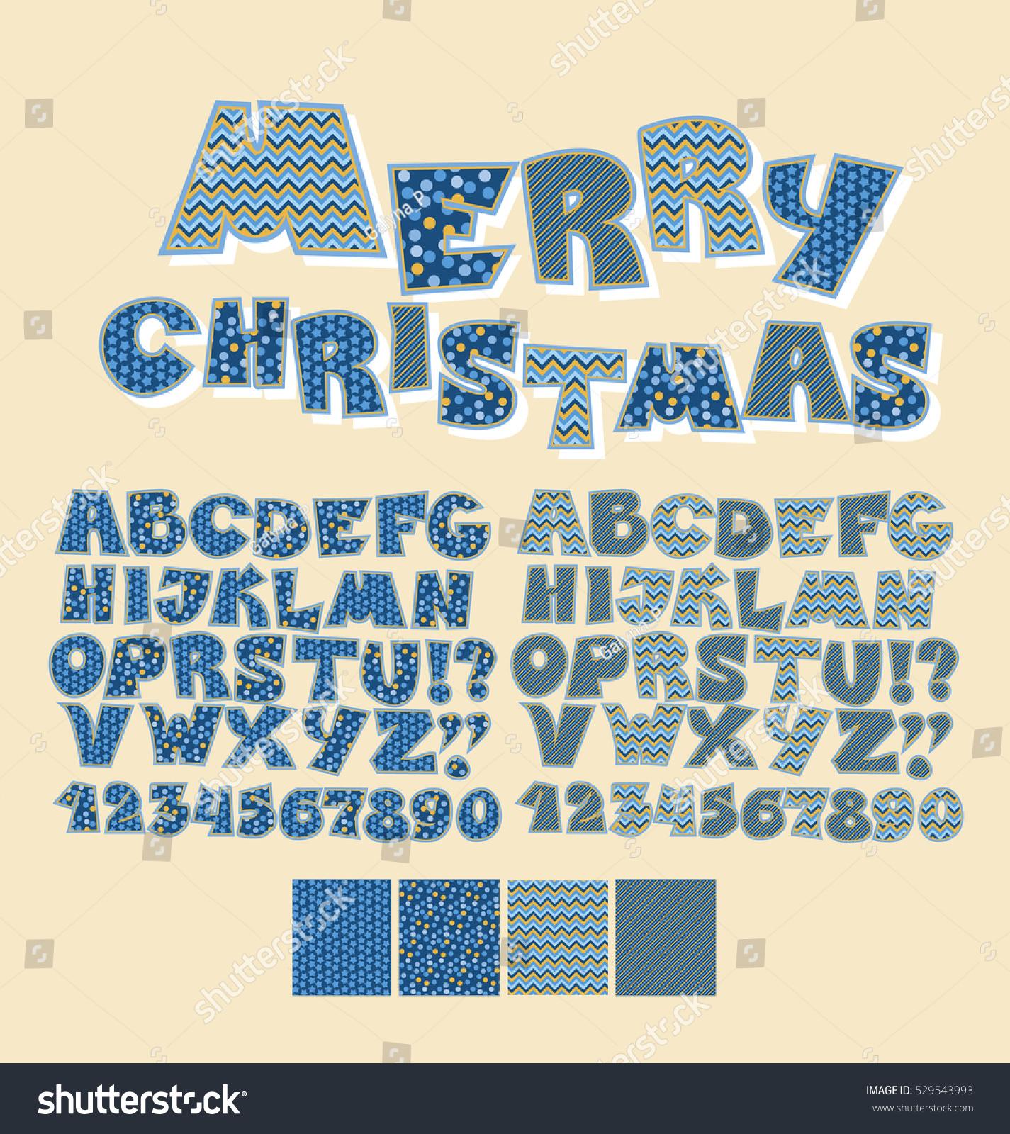 Christmas Patchwork Style Abc Font Alphabet Stock Vector 529543993