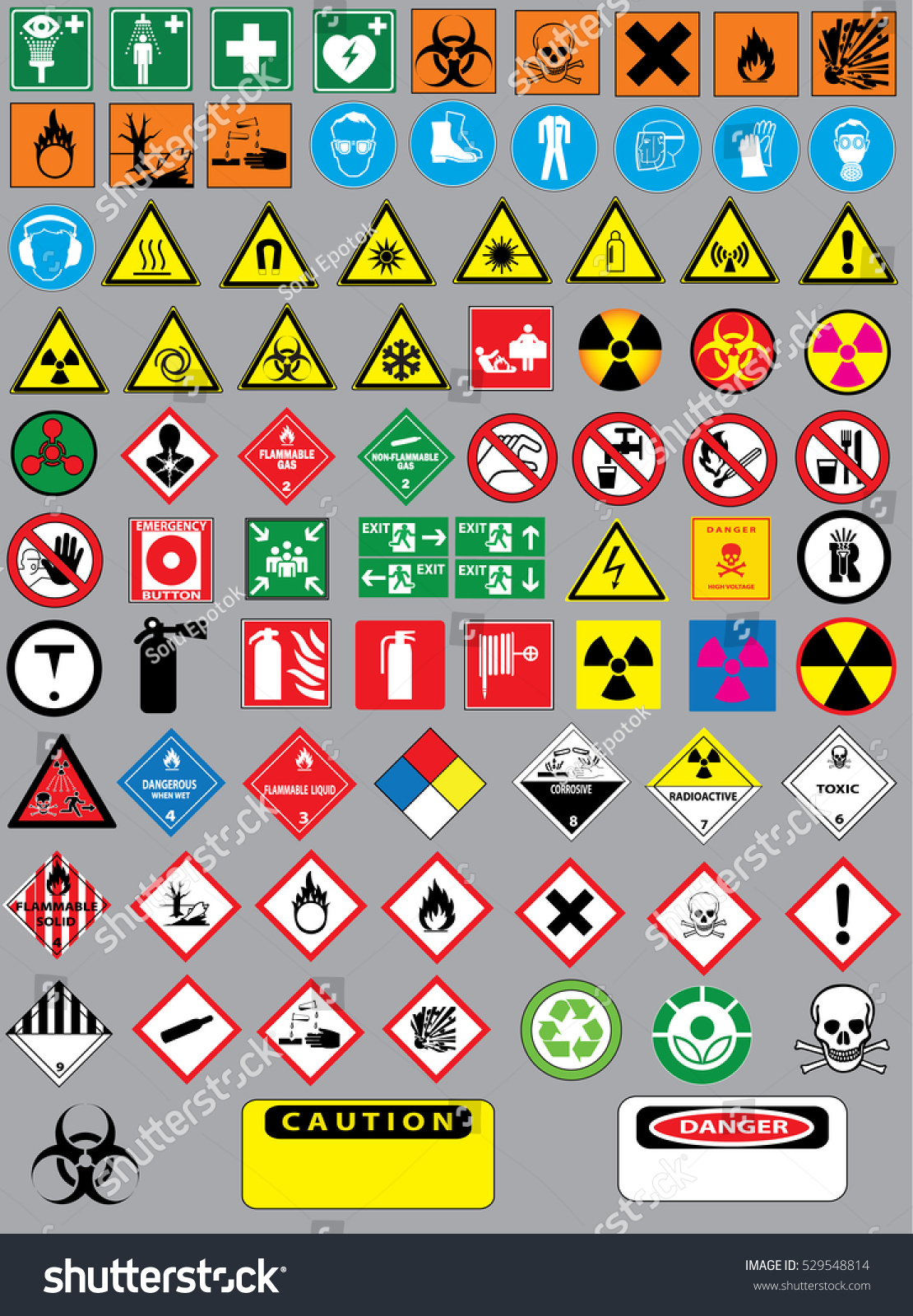 Collection Set Chemistry Laboratory Warning Signs Stock Vector