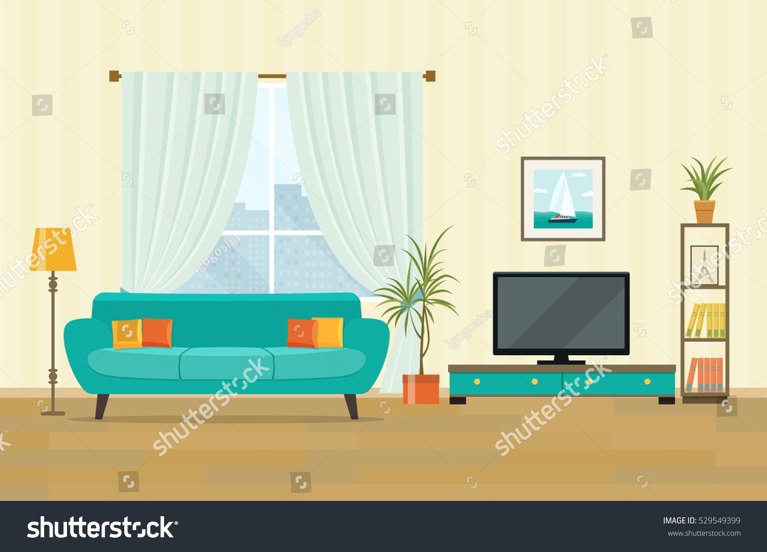 Living room interior design furniture sofa stock vector for Room design vector
