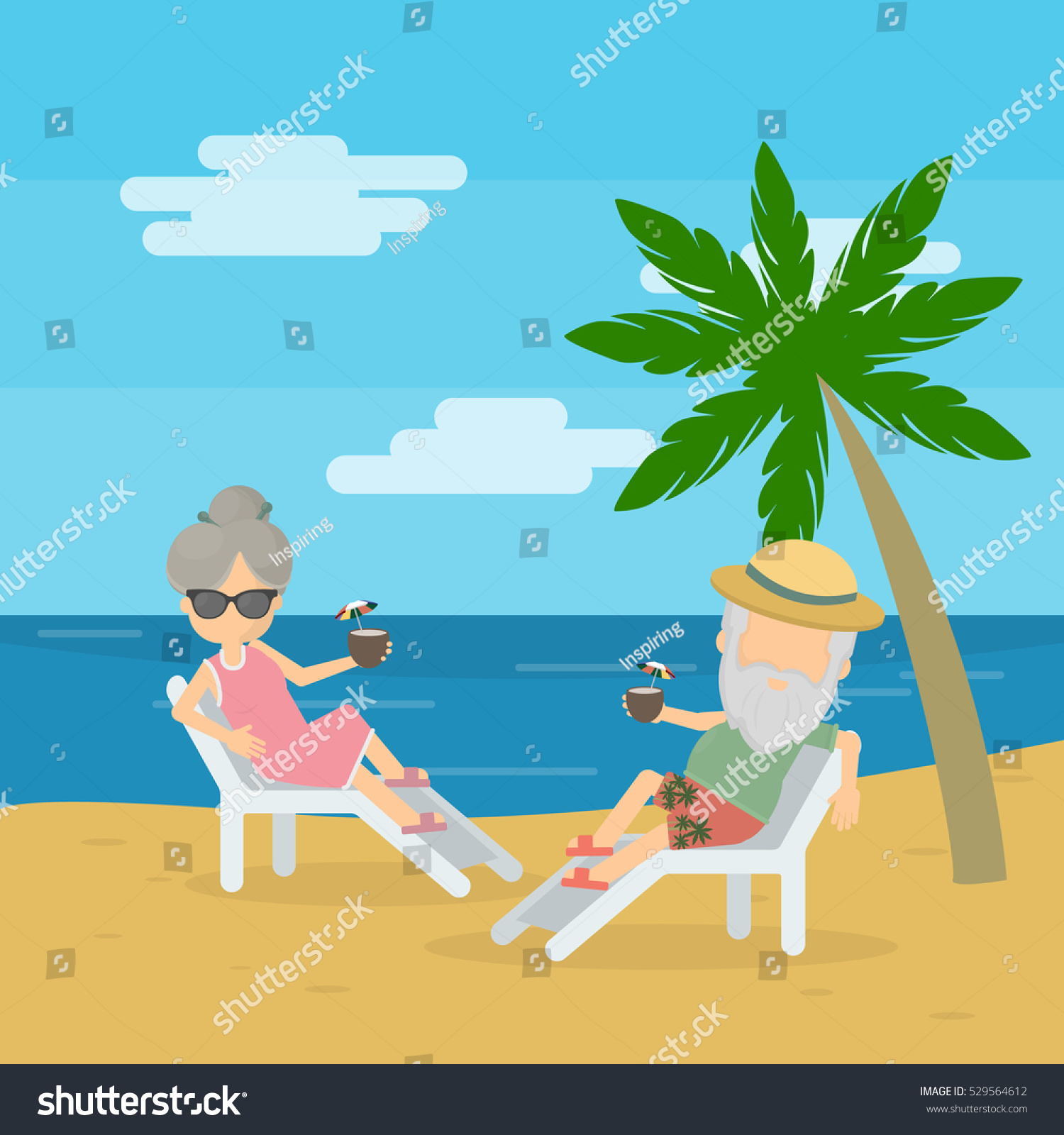 Couple At The Beach Stock Image Image Of Caucasian: Vector Illustration Senior Couple Enjoying Their Stock