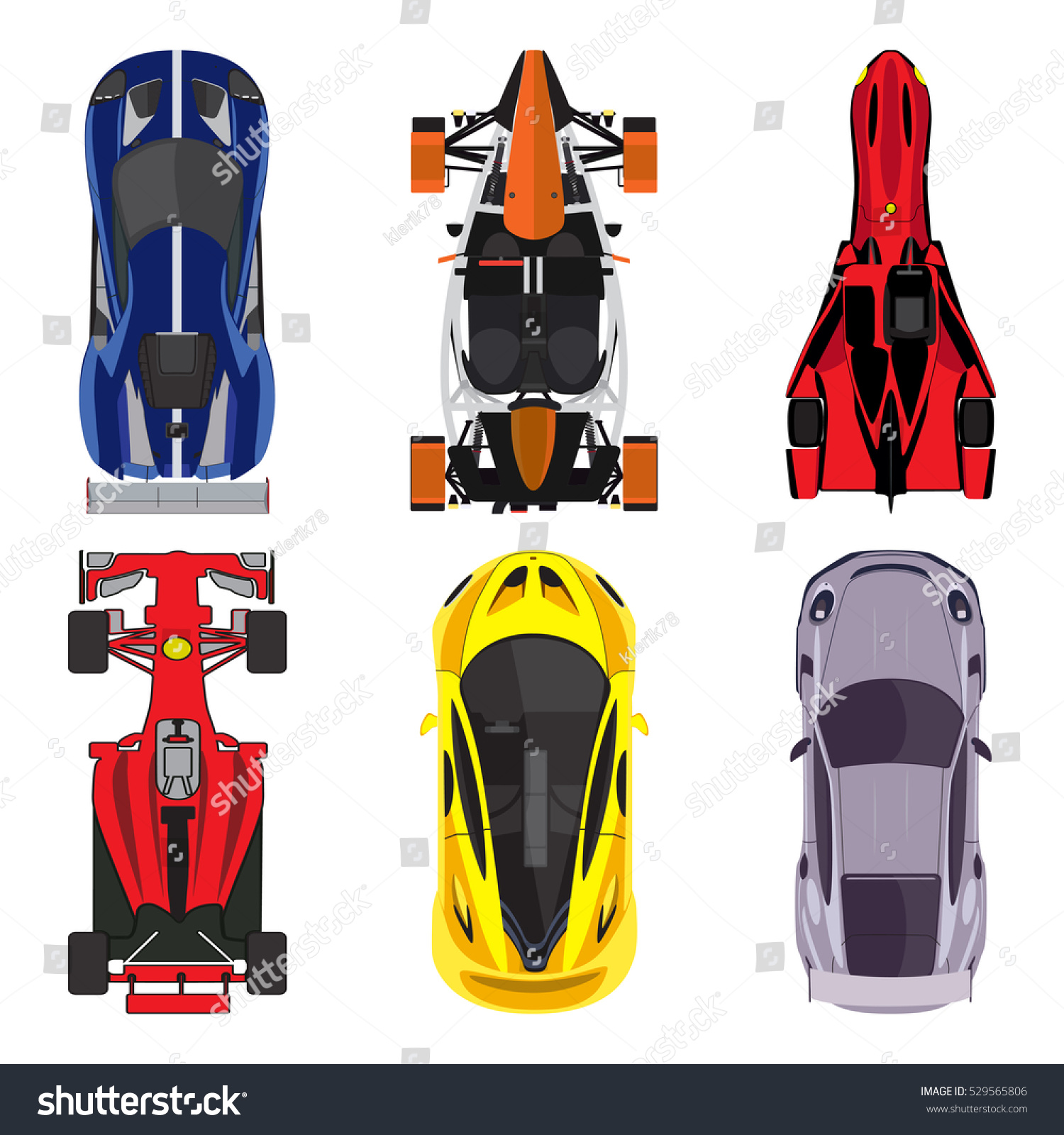 Sport Racing Cars Top View Icons Stock Vector Royalty Free