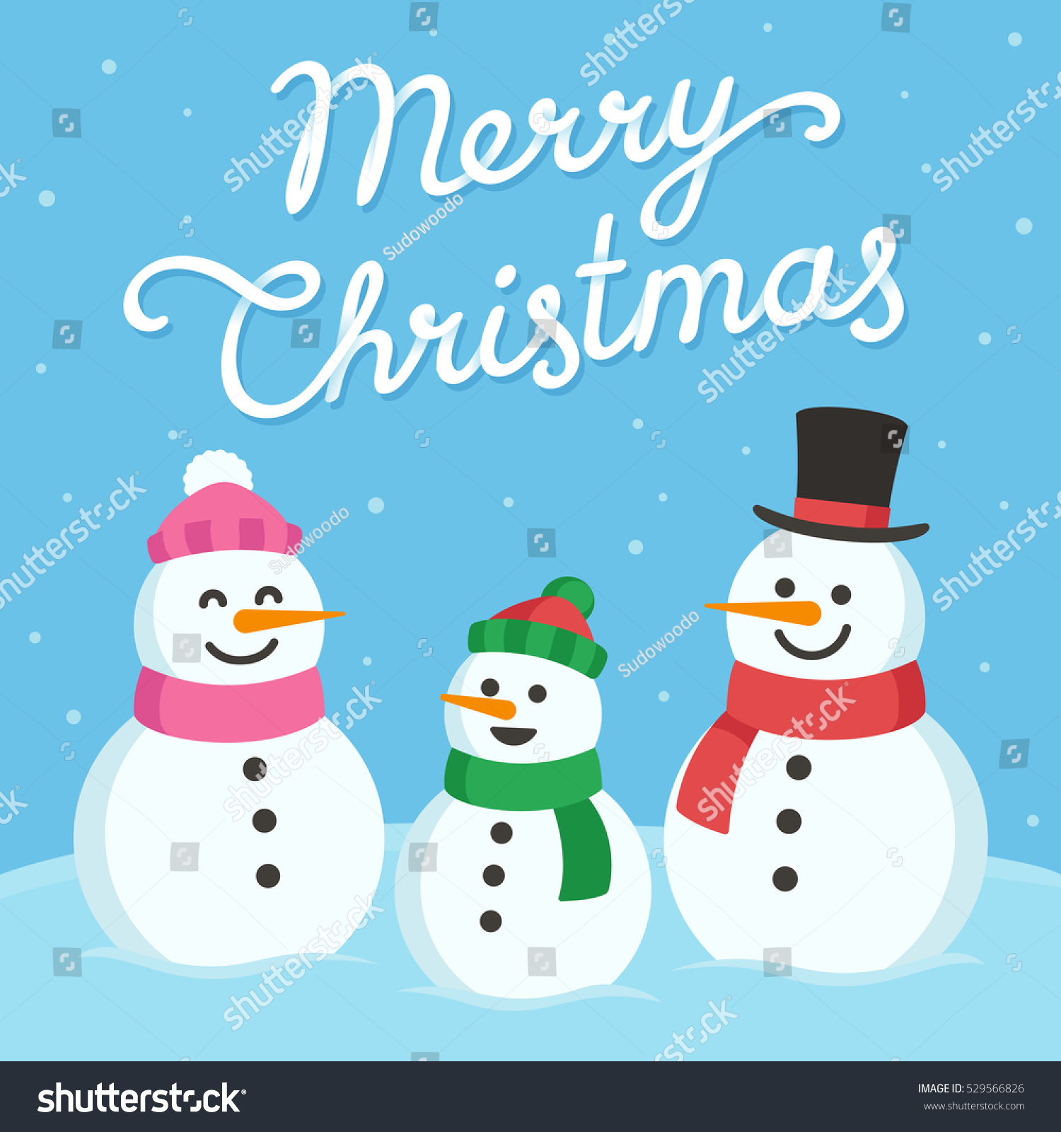 Cute Christmas Greeting Card Cartoon Snowman Stock Vector Royalty