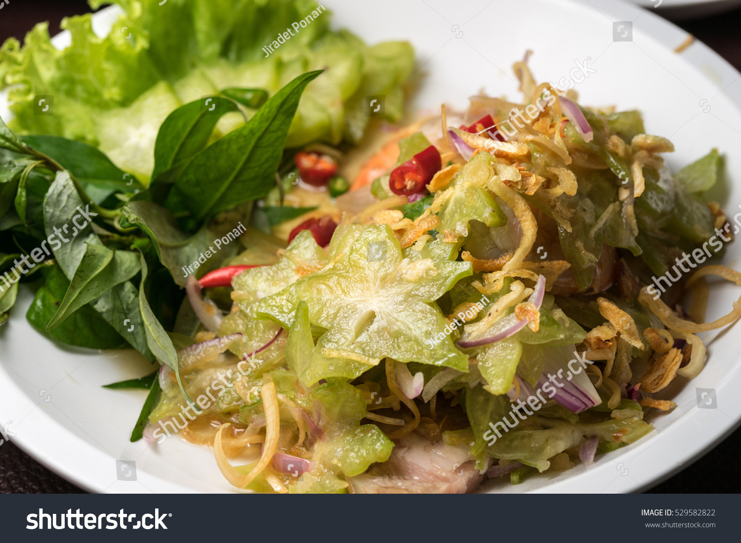 Star apple spicy salad thai food style stock photo for 7 star thai cuisine