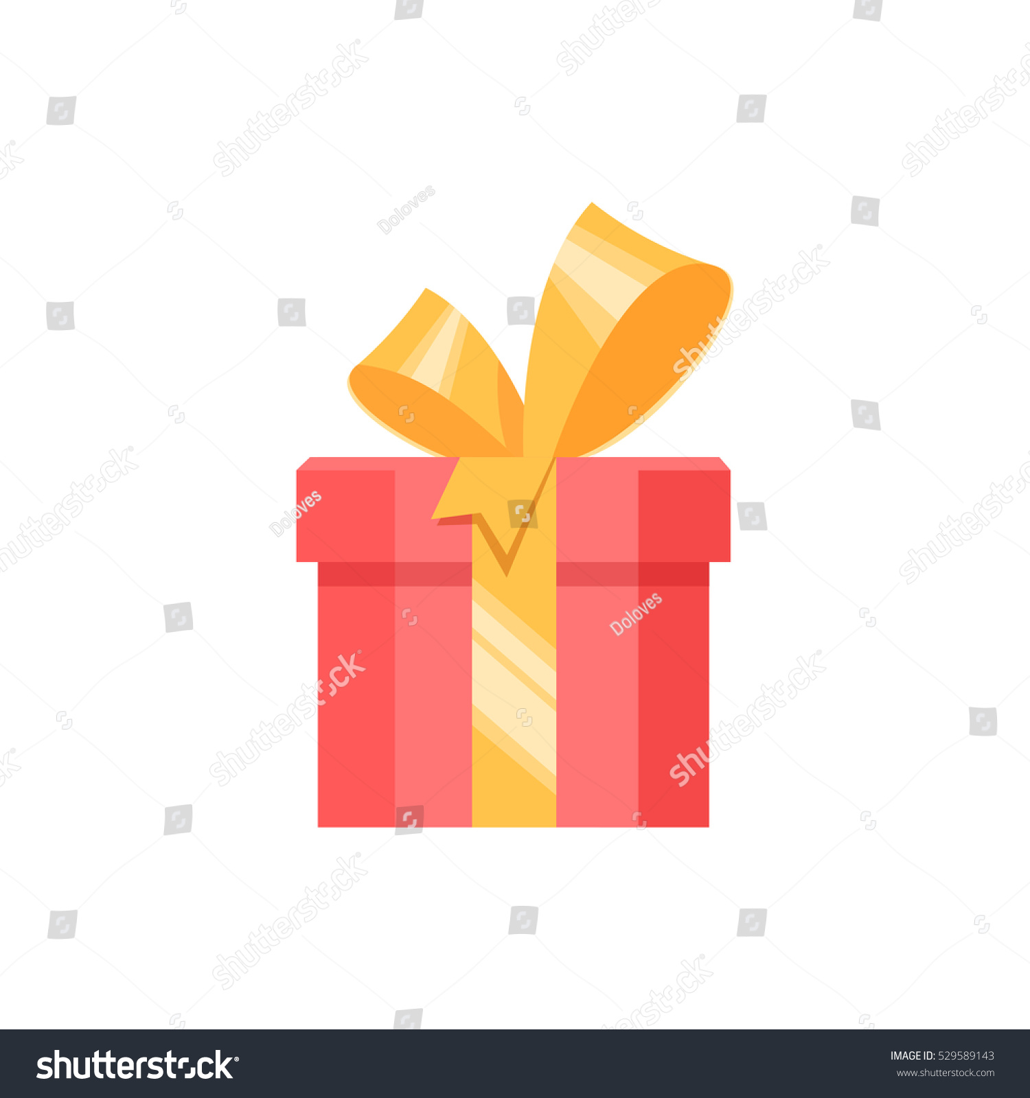 Red gift box present surprise with yellow bow on white background Vector illustration element banner poster flyer greeting card