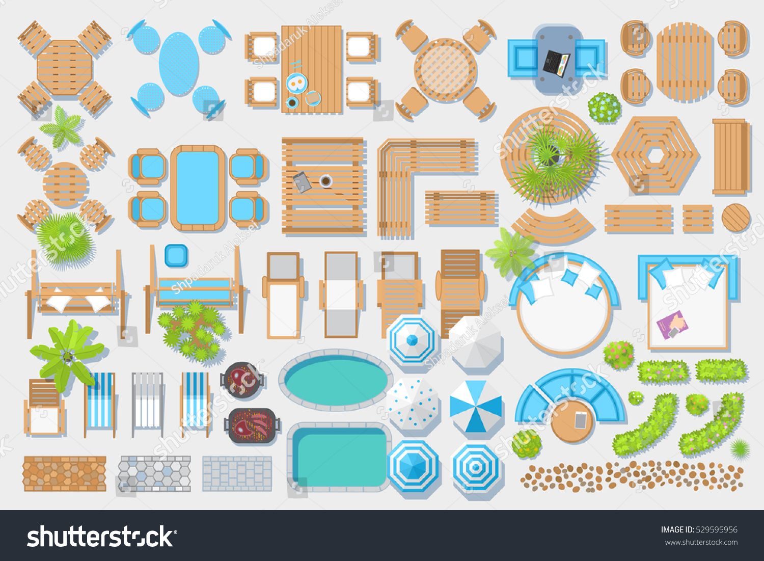 Pool chair top view - Icons Set Outdoor Furniture And Patio Items Top View Isolated Vector Illustration