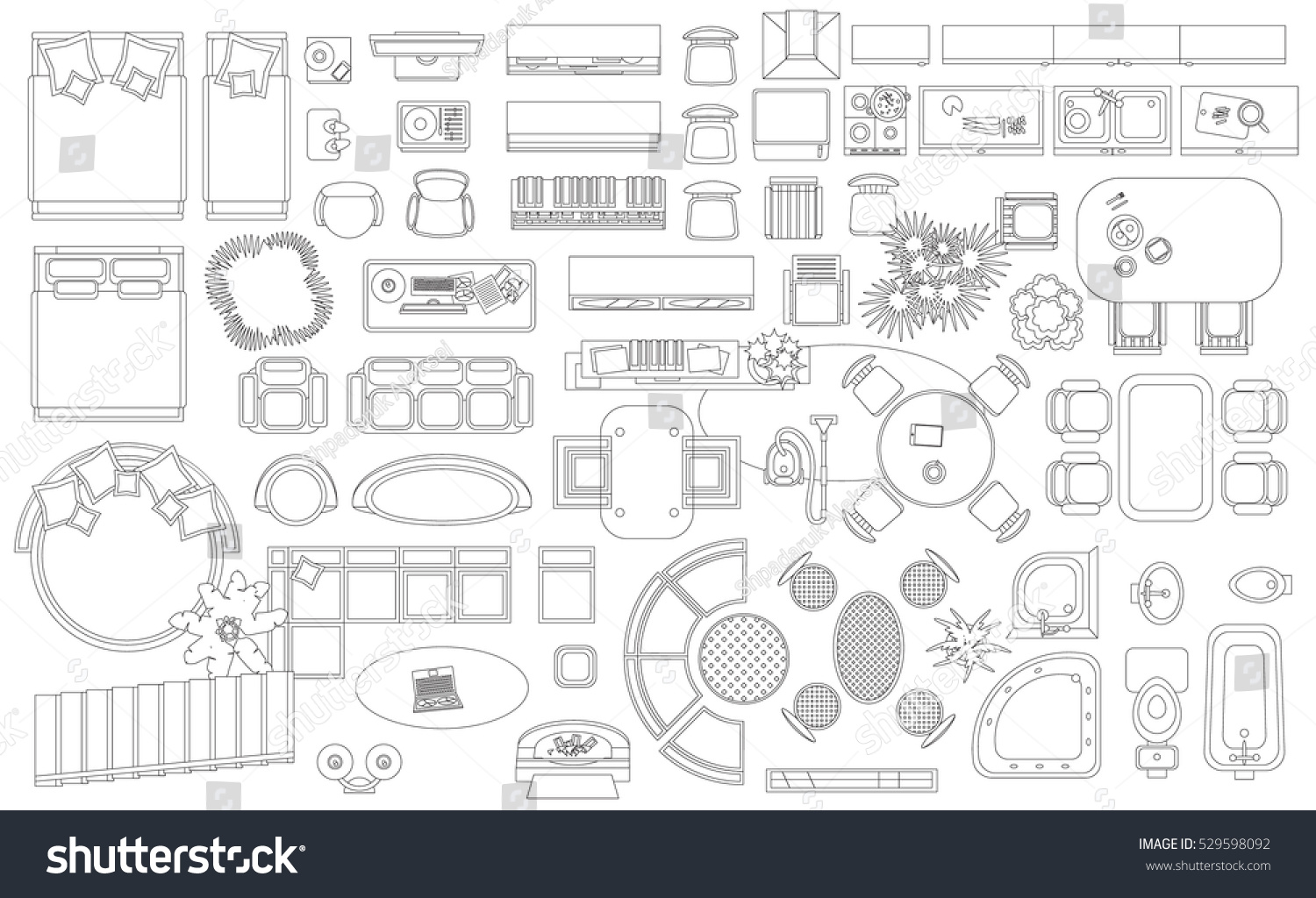 Black White Interior Design Furniture For Floor Plan ~ Royalty free set of linear icons interior top view