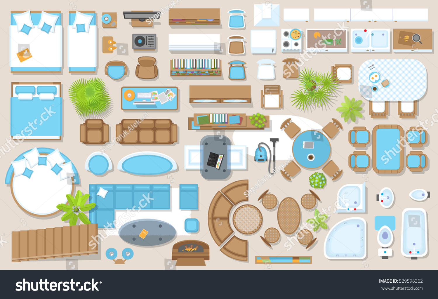 Icons Set Of Interior Top View Stock Photo 529598362