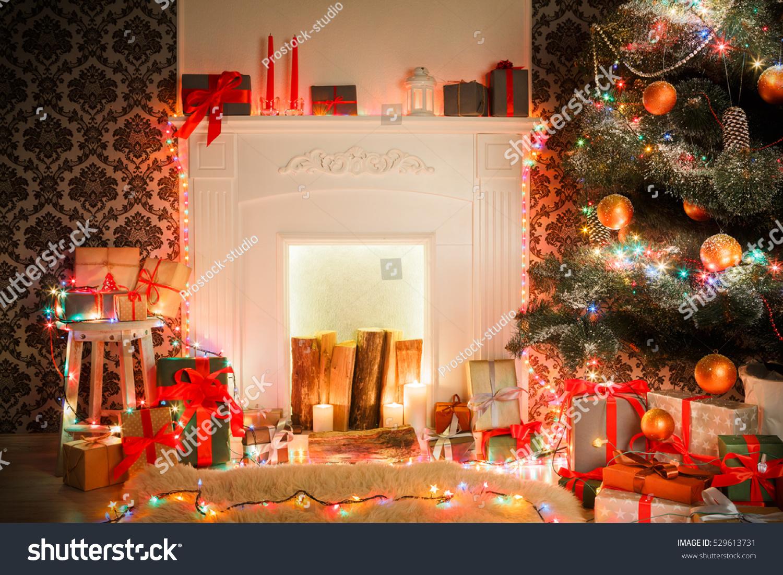 Christmas Living Room Decorations Fireplace Closeup Stock