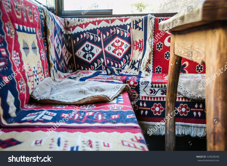 middle east restaurant carpet pattern restaraunt stock photo