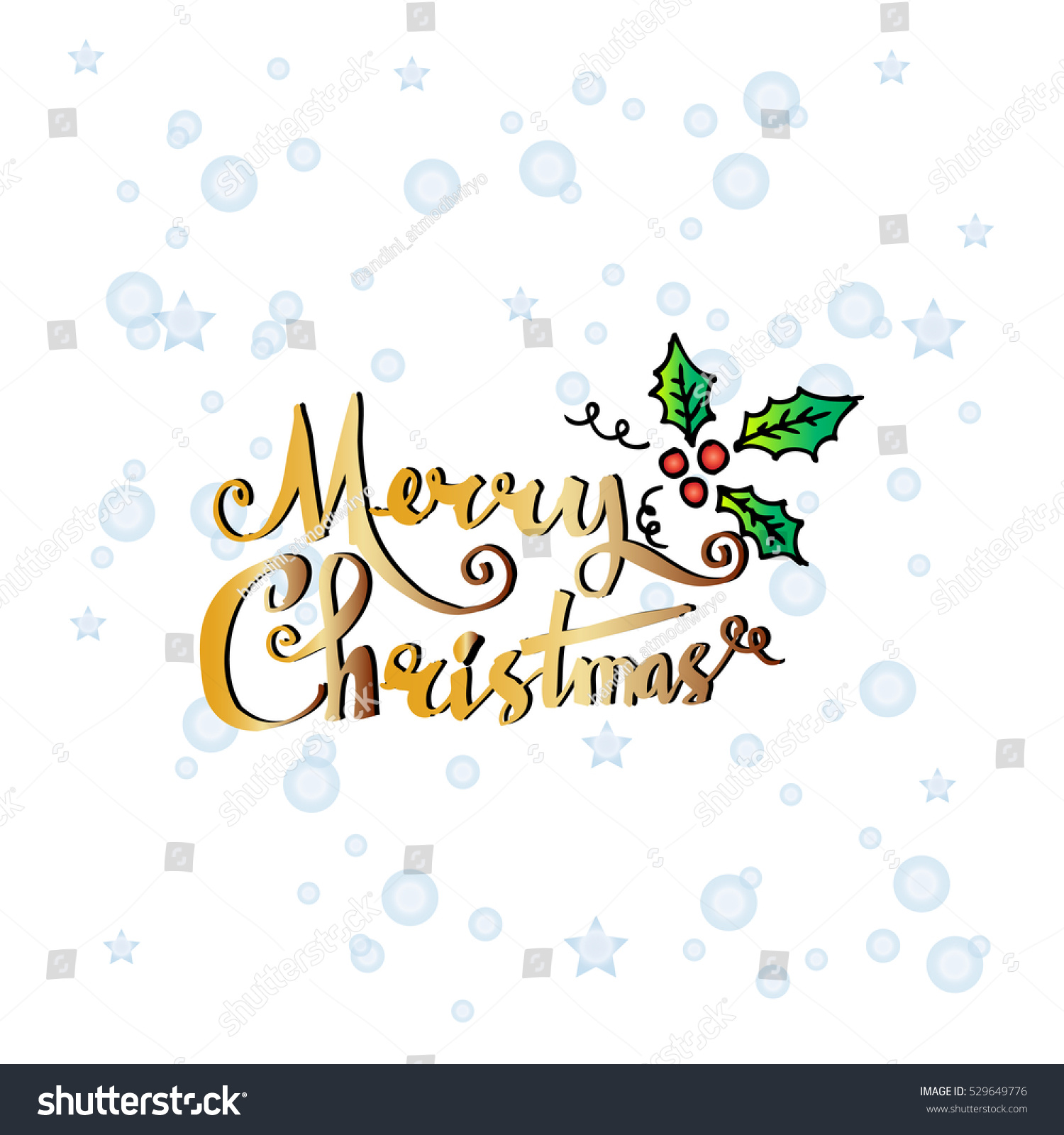 Merry Christmas Text Calligraphic Lettering Design Stock Vector ...