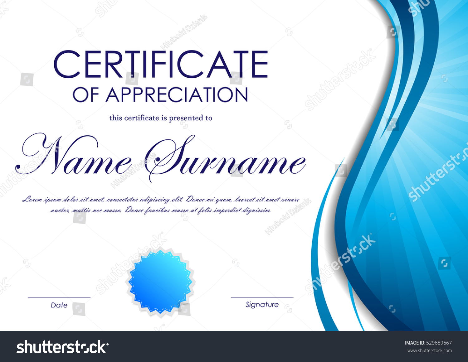 Certificate appreciation template blue dynamic wavy stock vector certificate of appreciation template with blue dynamic wavy vortex light background and seal vector illustration yadclub Gallery