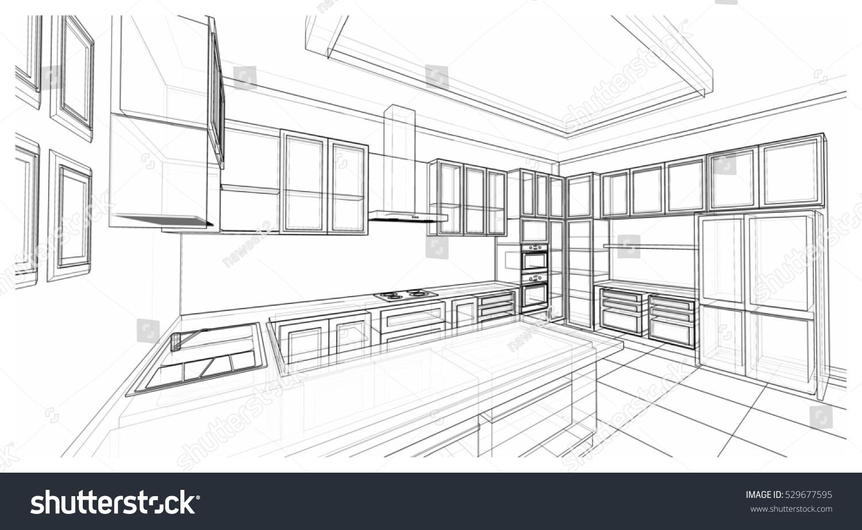 Interior Design Classic Style Kitchen Modern Stock Illustration