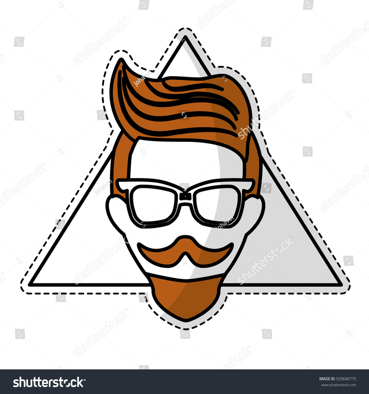 Sticker of man face with mustache and glasses over triangular frame and white background hispter