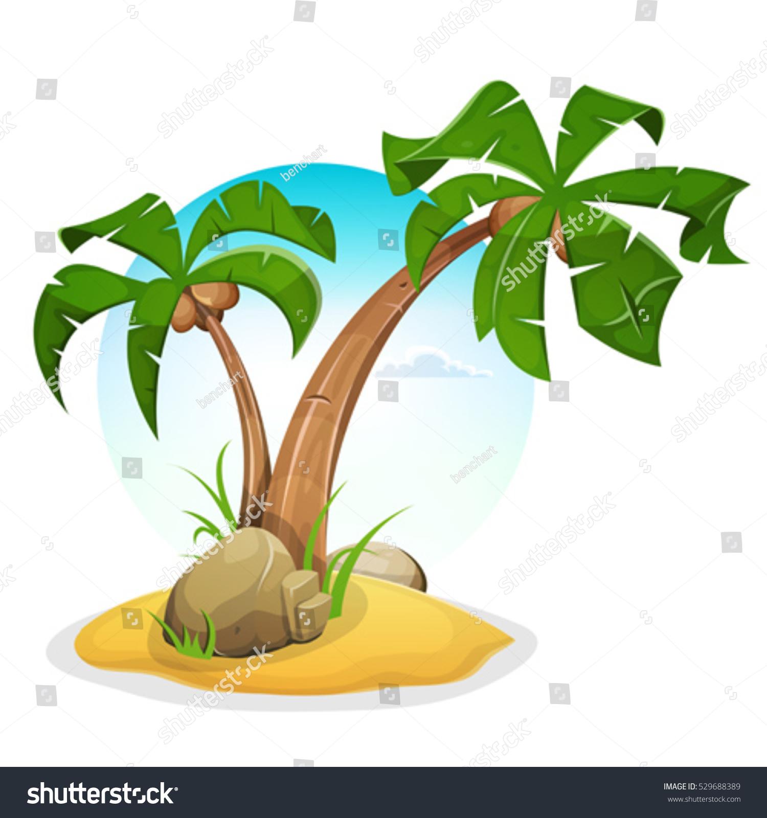 tropical island palm trees illustration cartoon palm stock vector