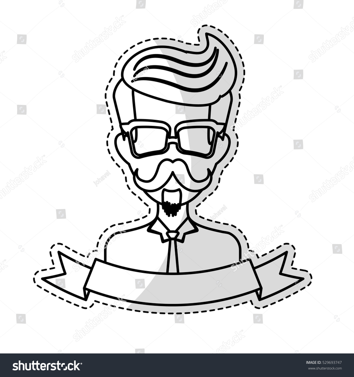 Sticker of man face with mustache and glasses and decorative ribbon over white background hispter
