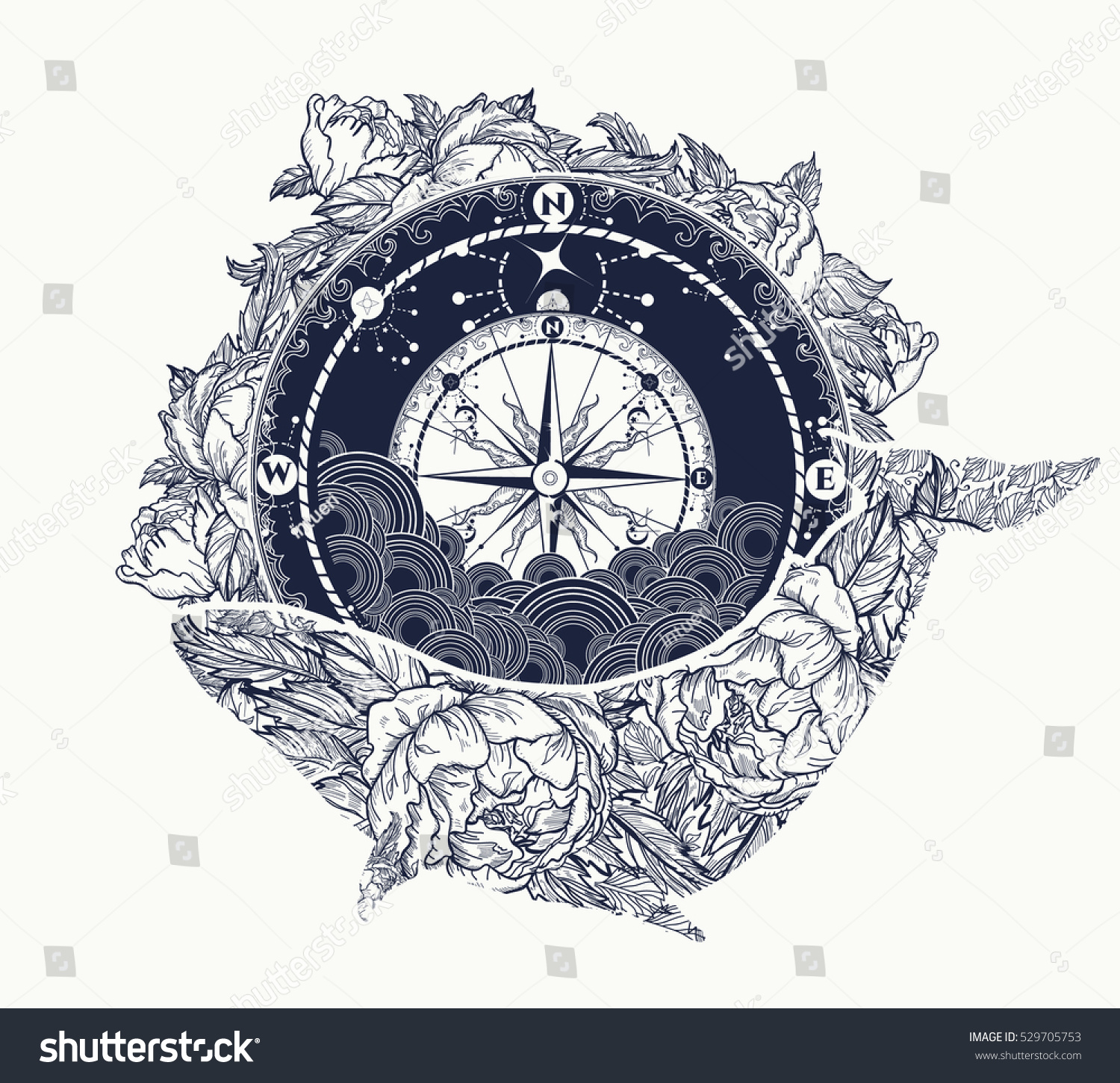 Peony flower isolated on white stock vector 368014568 shutterstock -  6 Compass Floral Whale Tattoo Art Stock Vector 529705753 Shutterstock