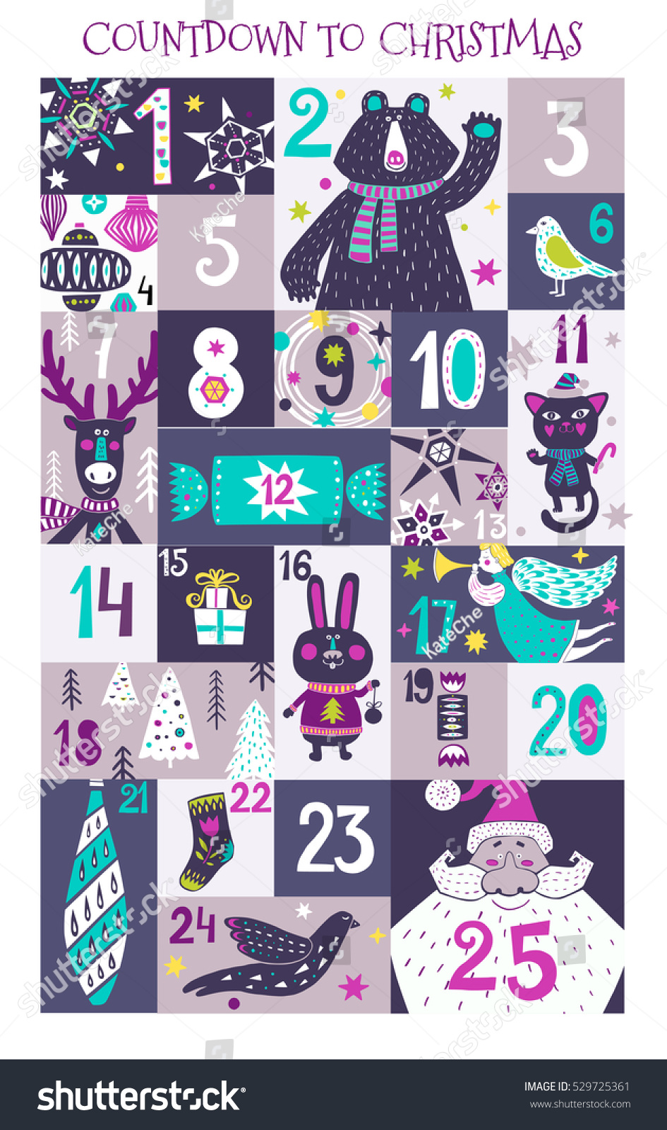 Christmas Calendar Illustration : Christmas advent calendar creative hand drawn stock vector