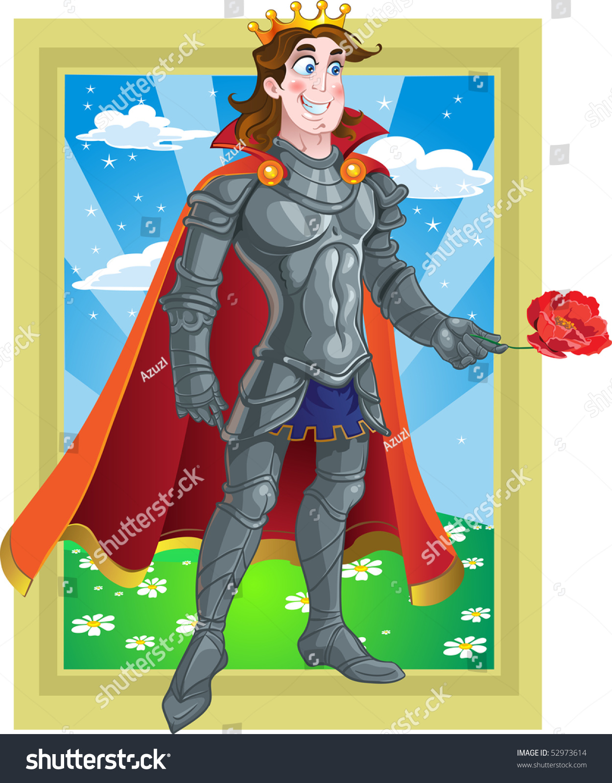 prince charming armour give flover on stock illustration 52973614